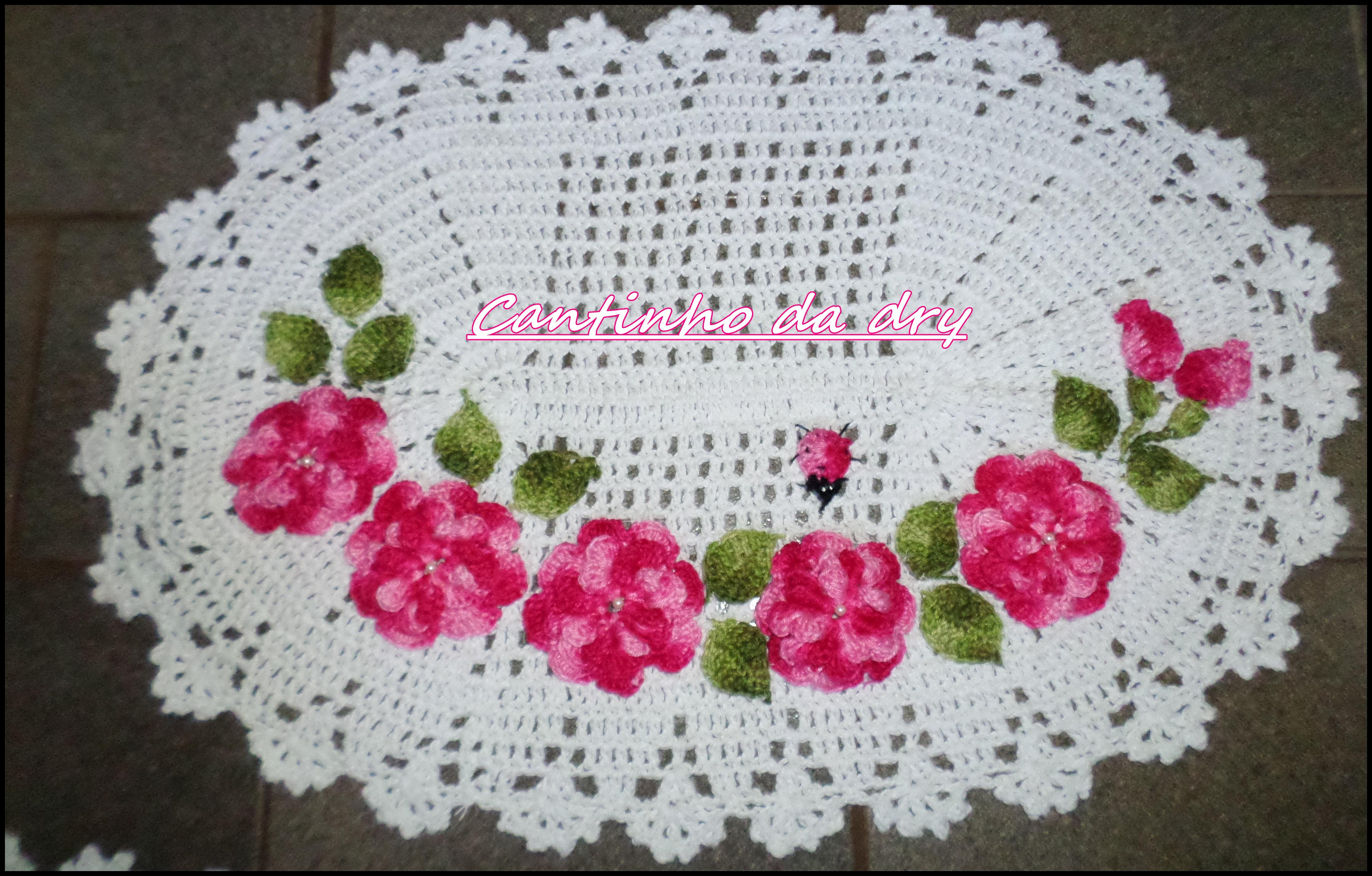 TAPETE COM FLORES E JOANINHA | Croches por encomendas | Elo7