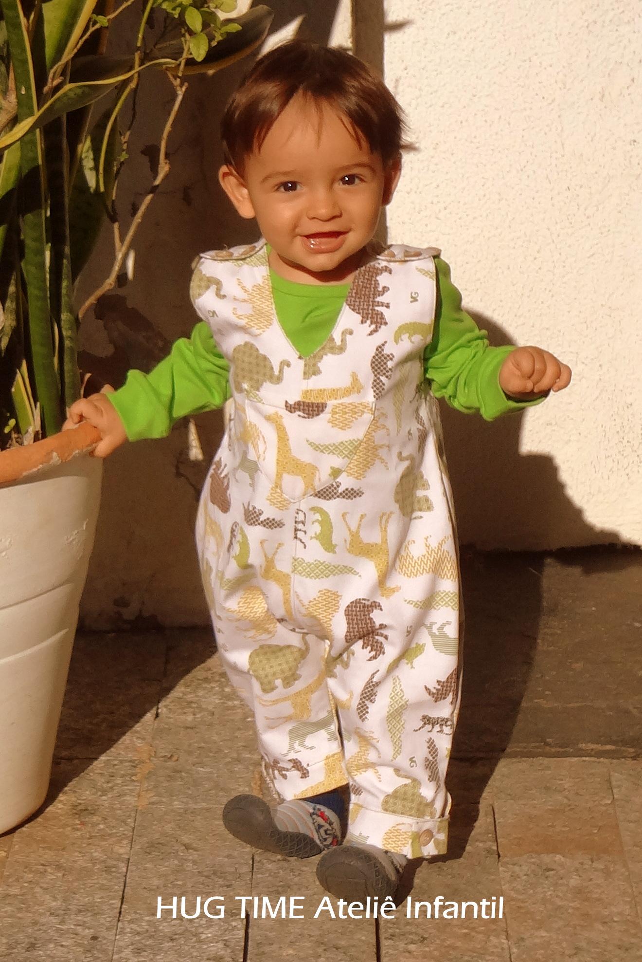 Jardineira infantil hug time ateli infantil elo7 for Jardineira infantil c a