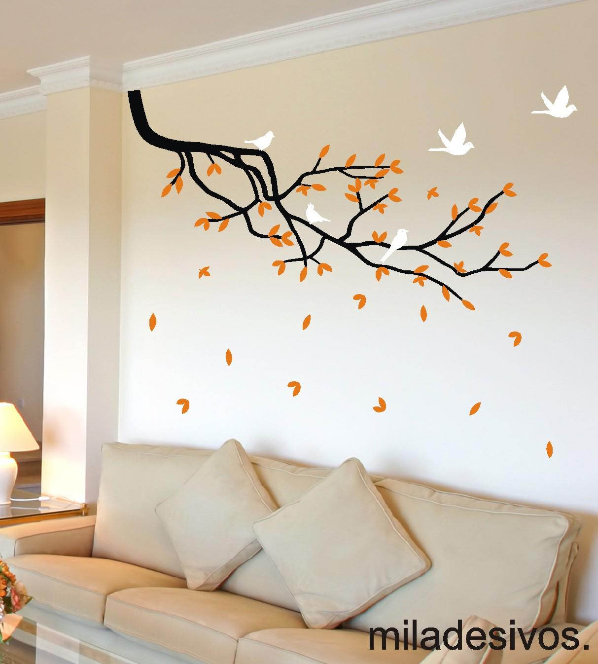 Adesivo de parede galho com passarinhos Adesivos de  ~ Adesivos De Parede Para Quarto Galhos