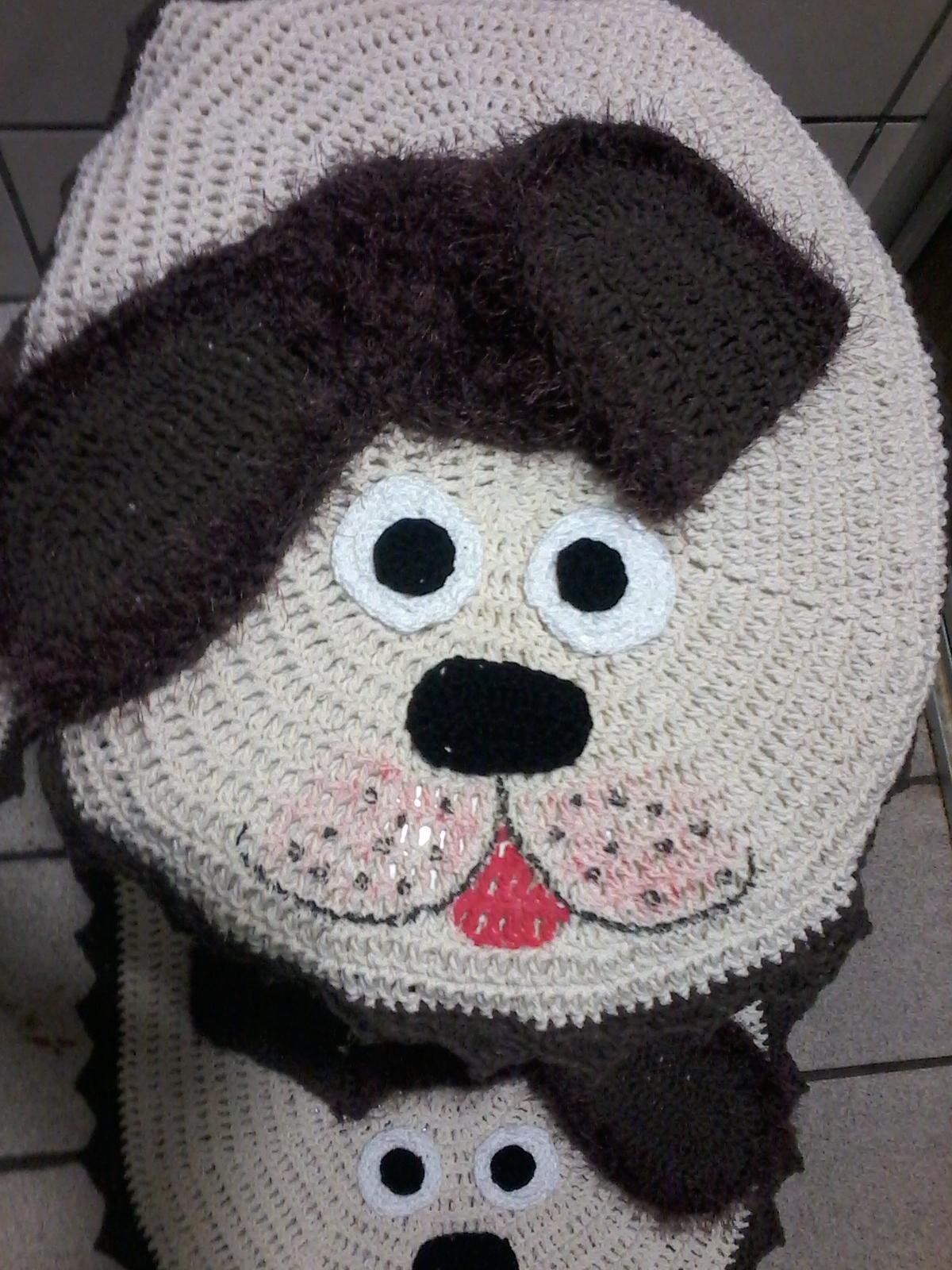 Jogo De Banheiro De Gato Croche : Jogo de banheiro cachorro m?nica croch? elo