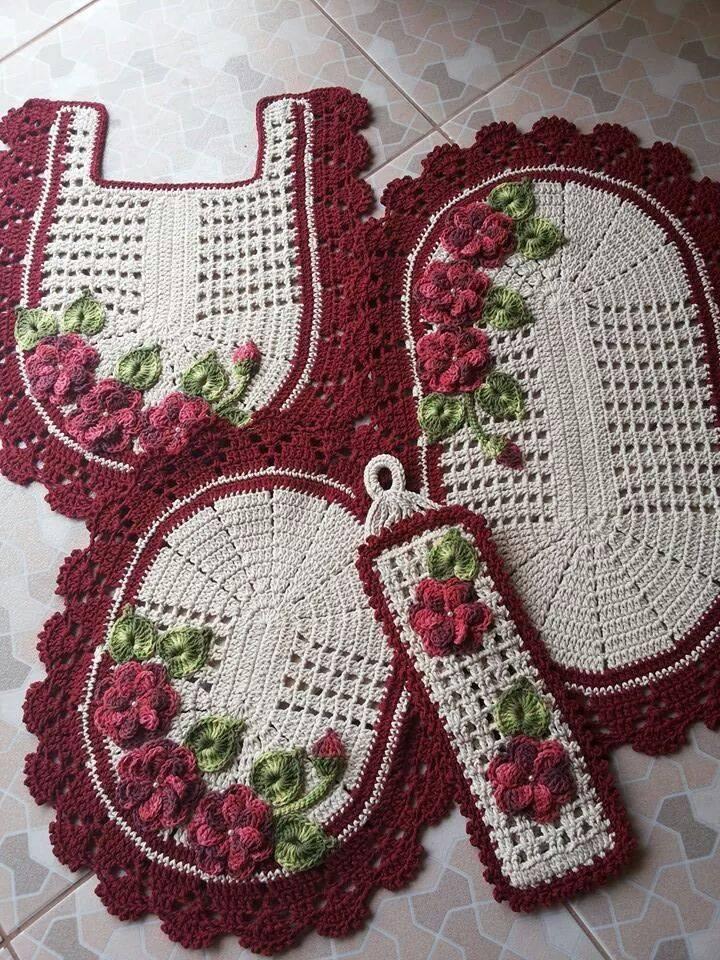 Jogo De Banheiro De Gato Croche : Jogo de banheiro com flores croch? barbante e cia elo