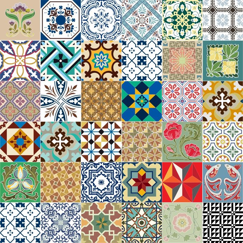 Azulejos adesivos portugu s 36 unidades arteadesivo elo7 - Fotos en azulejos ...