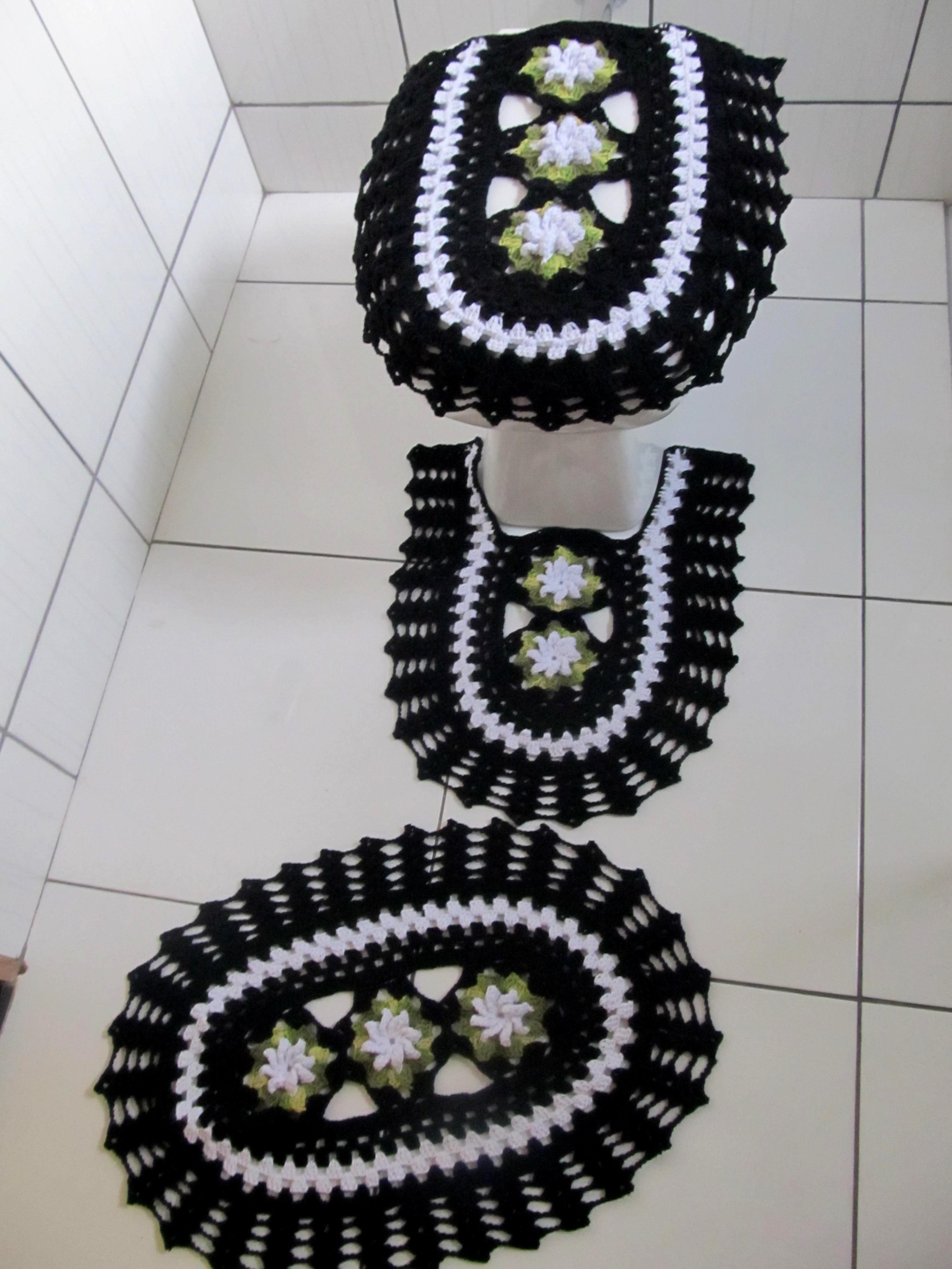 jogo de banheiro 3 pcs preto e branco jogo de banheiro #676B46 3000 4000