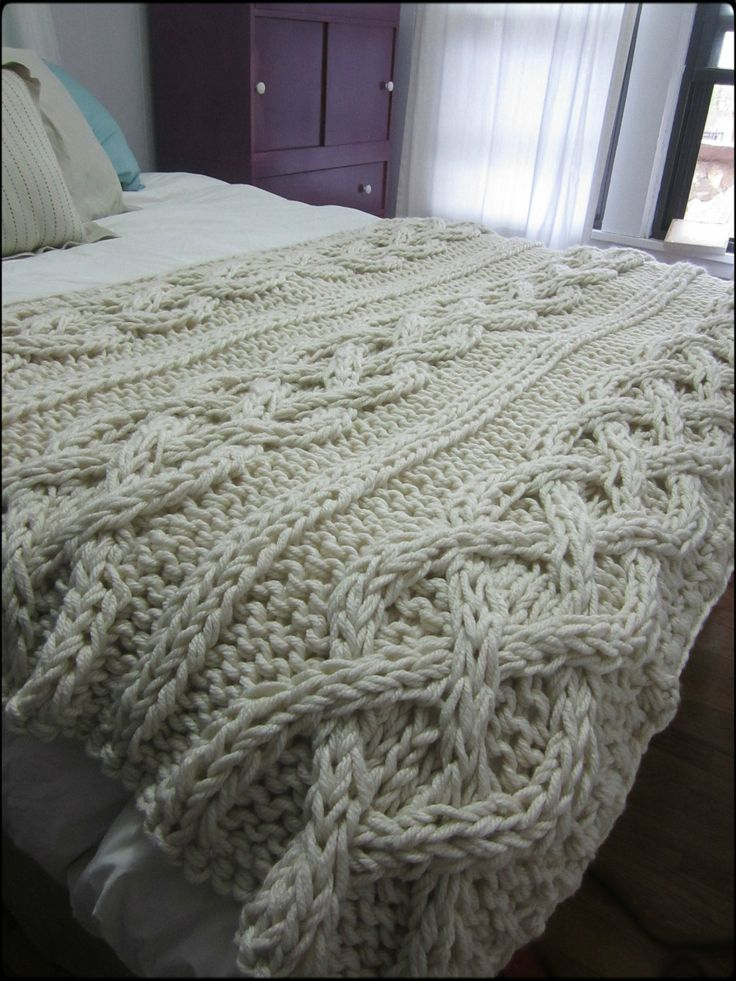 King Size Cable Knit Blanket F 2017