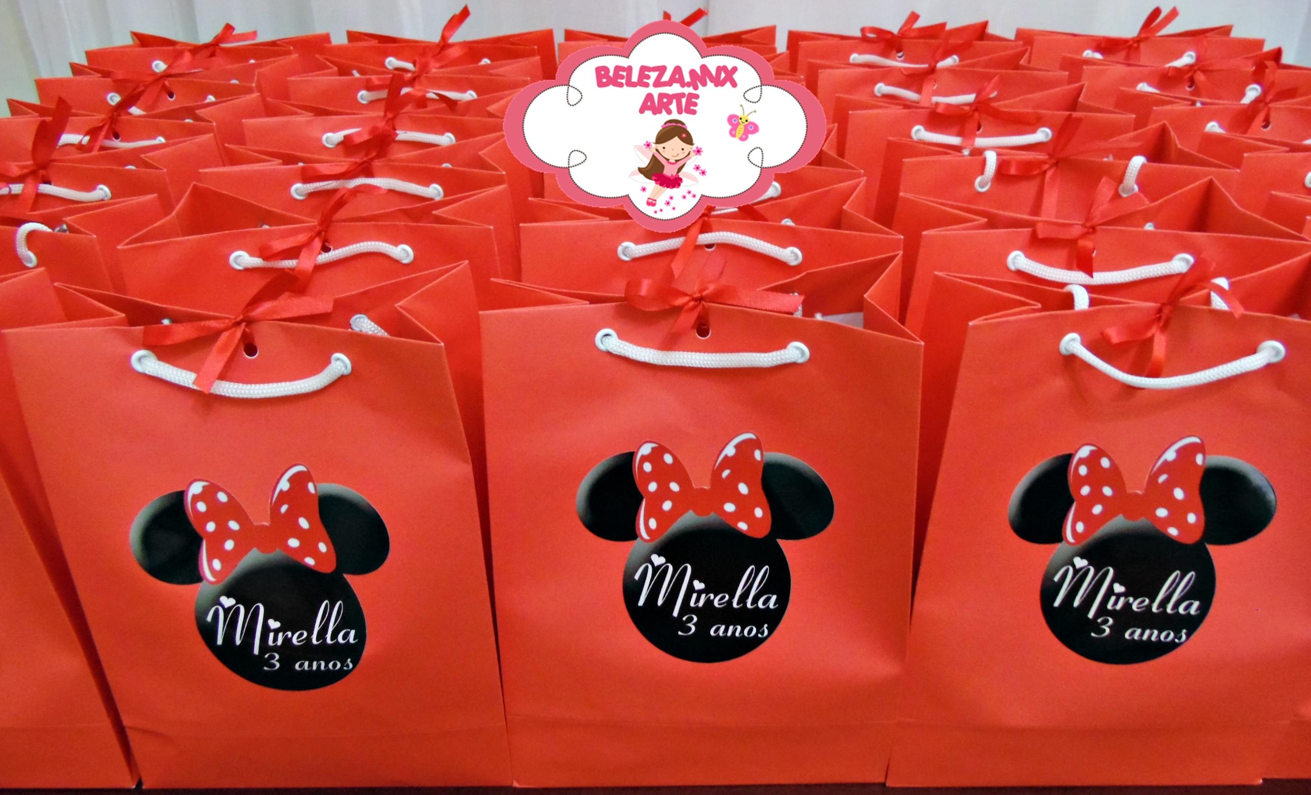 Bolsa De Festa Da Minie : Sacola personalizada minnie vermelha dona coruja festas