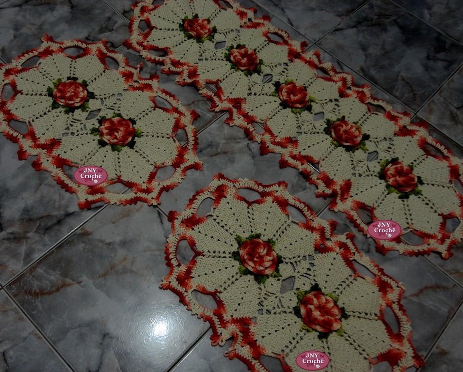 jogo de tapetes flor de cerejeira jny croch elo7. Black Bedroom Furniture Sets. Home Design Ideas