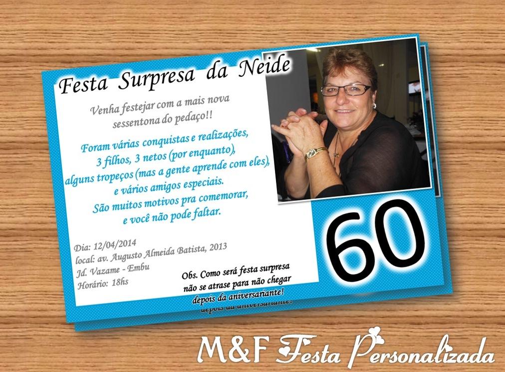 Convite 60 anos  M&F Festa Personalizada  Elo7