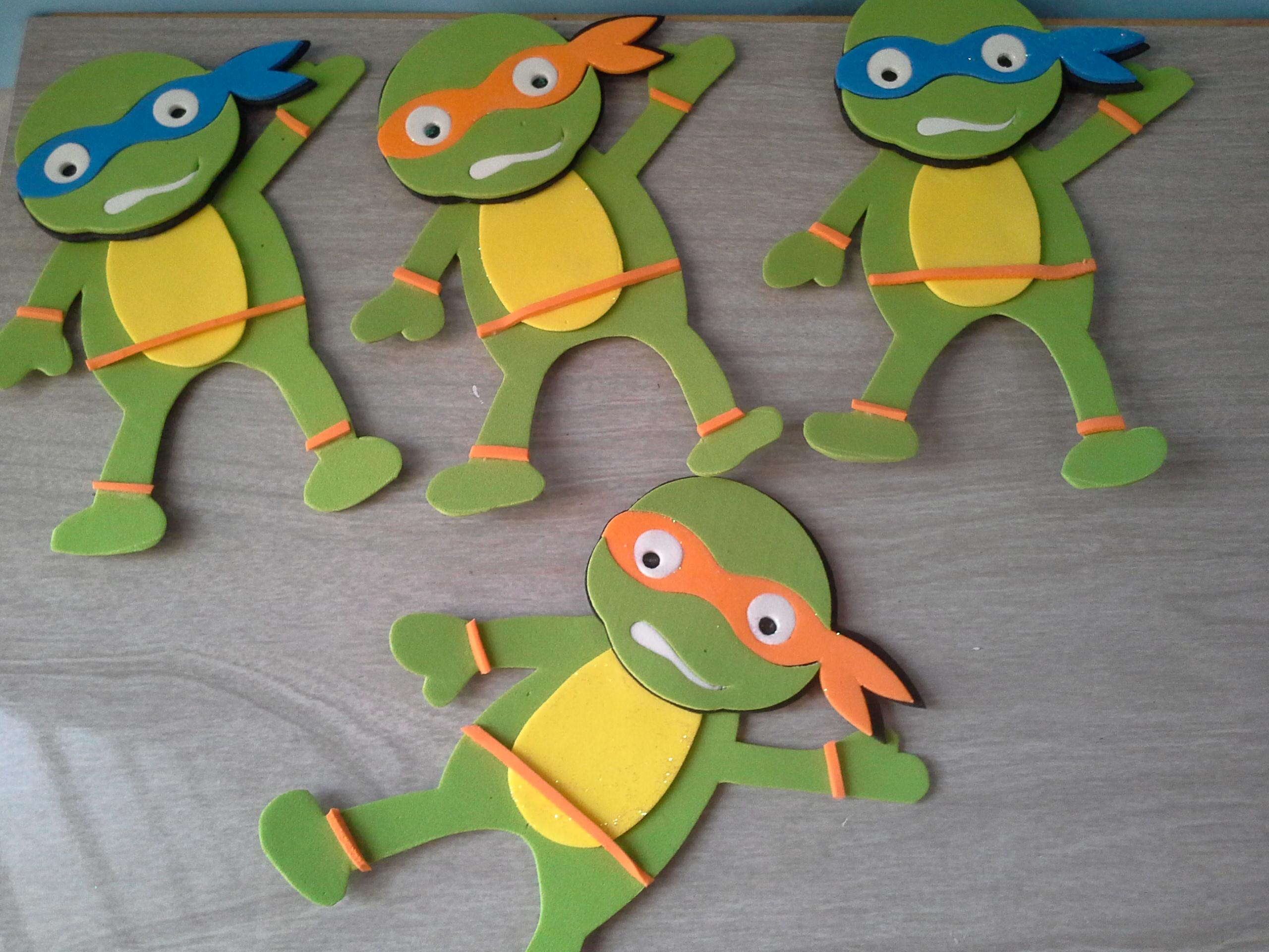 Apliques de eva tartarugas ninja m m lembrancinhas elo7 - Apliques infantiles de pared ...