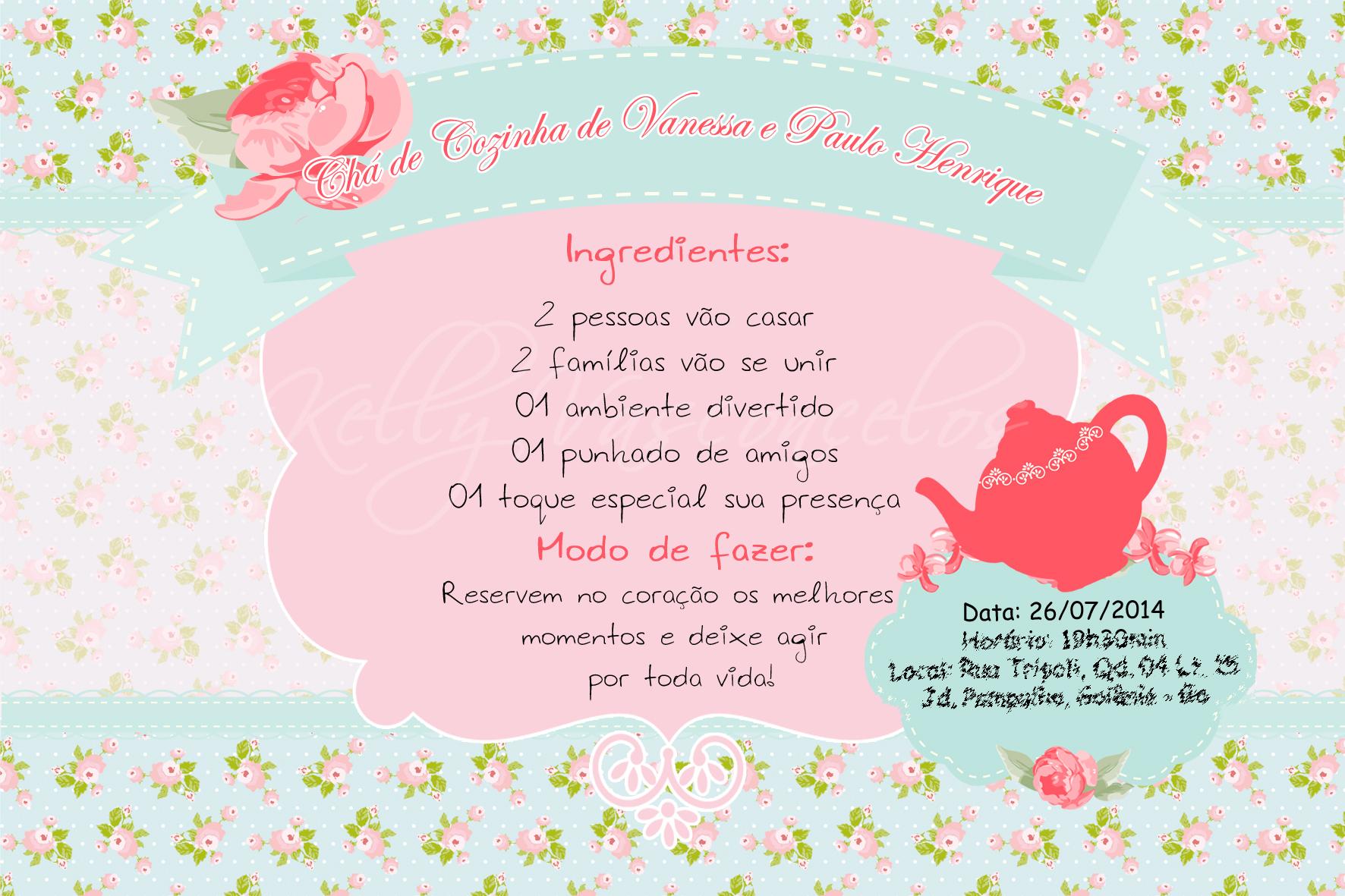 Criar Layout Online Convite Digital Ch 193 De Cozinha Kelly Vasconcelos Elo7