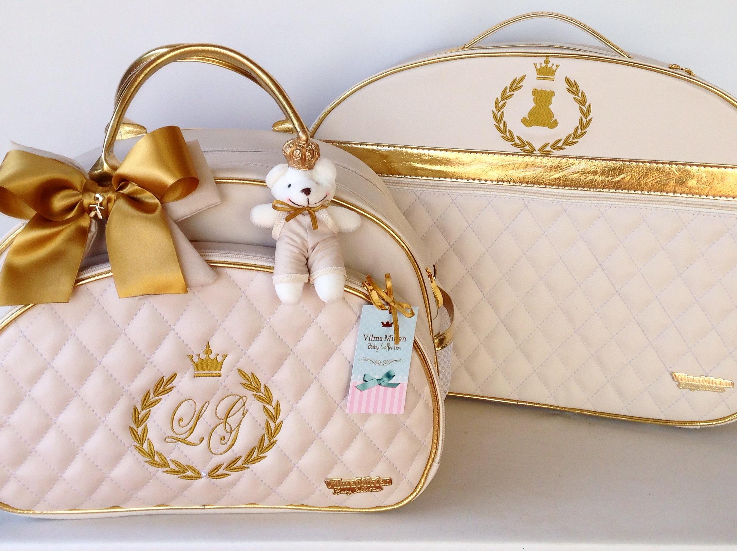 Bolsa Dourada De Maternidade : Bolsa matelass? bege com dourado vilma mirian baby