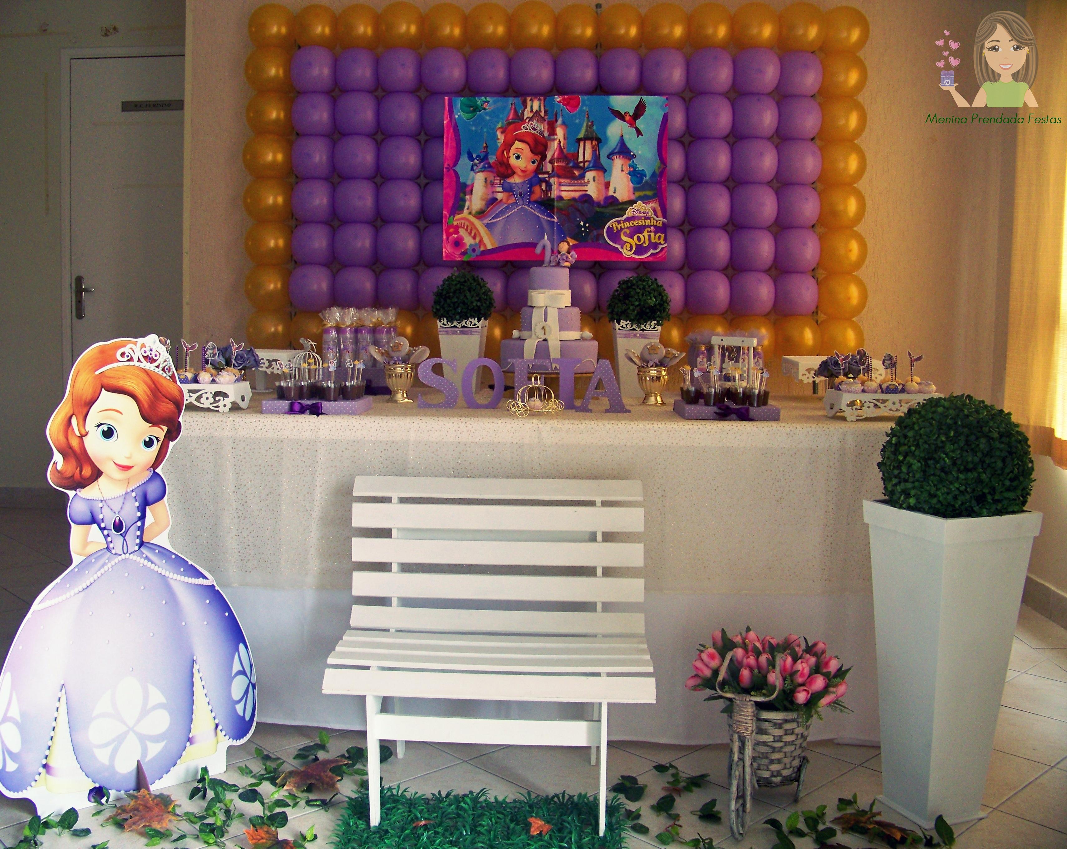 Decoraç u00e3o clean Princesa Sofia Menina Prendada Festas Personalizadas Elo7 -> Decoração De Aniversário Princesa Sofia