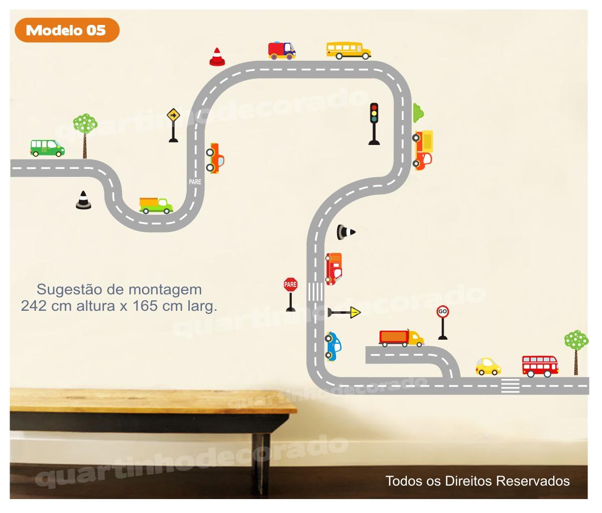 Adesivo Pista Carros Infantil Mod 5 QuartinhoDecorado Elo7 ~ Adesivo De Parede Quarto Infantil Carros
