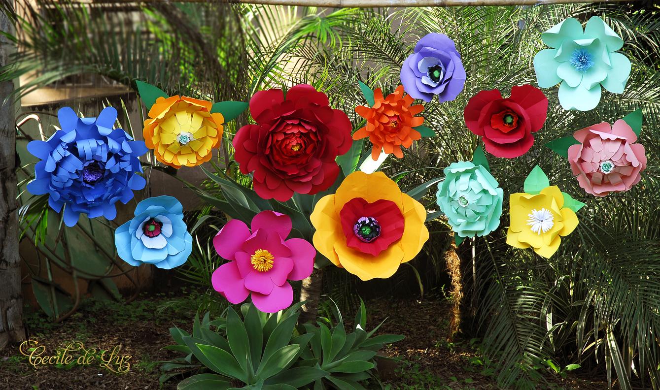 Flores gigantes para decoraç u00e3o Cecile de Luz Flores e Arte em papel Elo7 -> Decoração De Aniversário Com Flores Gigantes