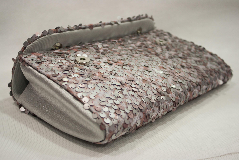 Bolsa De Festa Rose : Clutch em tecido paet? rosa e prata karla bags elo