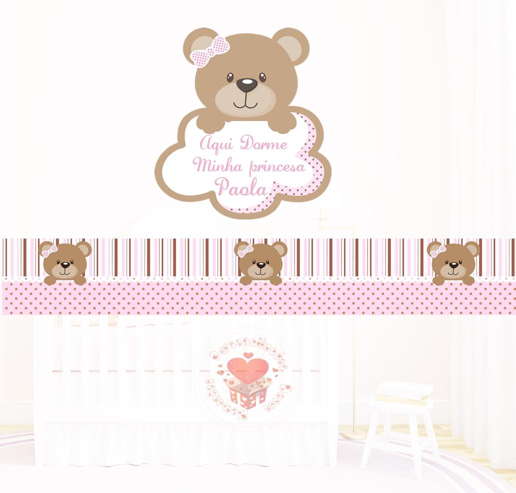 Faixa De Adesivo Para Quarto De Bebe ~ faixa quarto ursinha faixa rosa e marrom