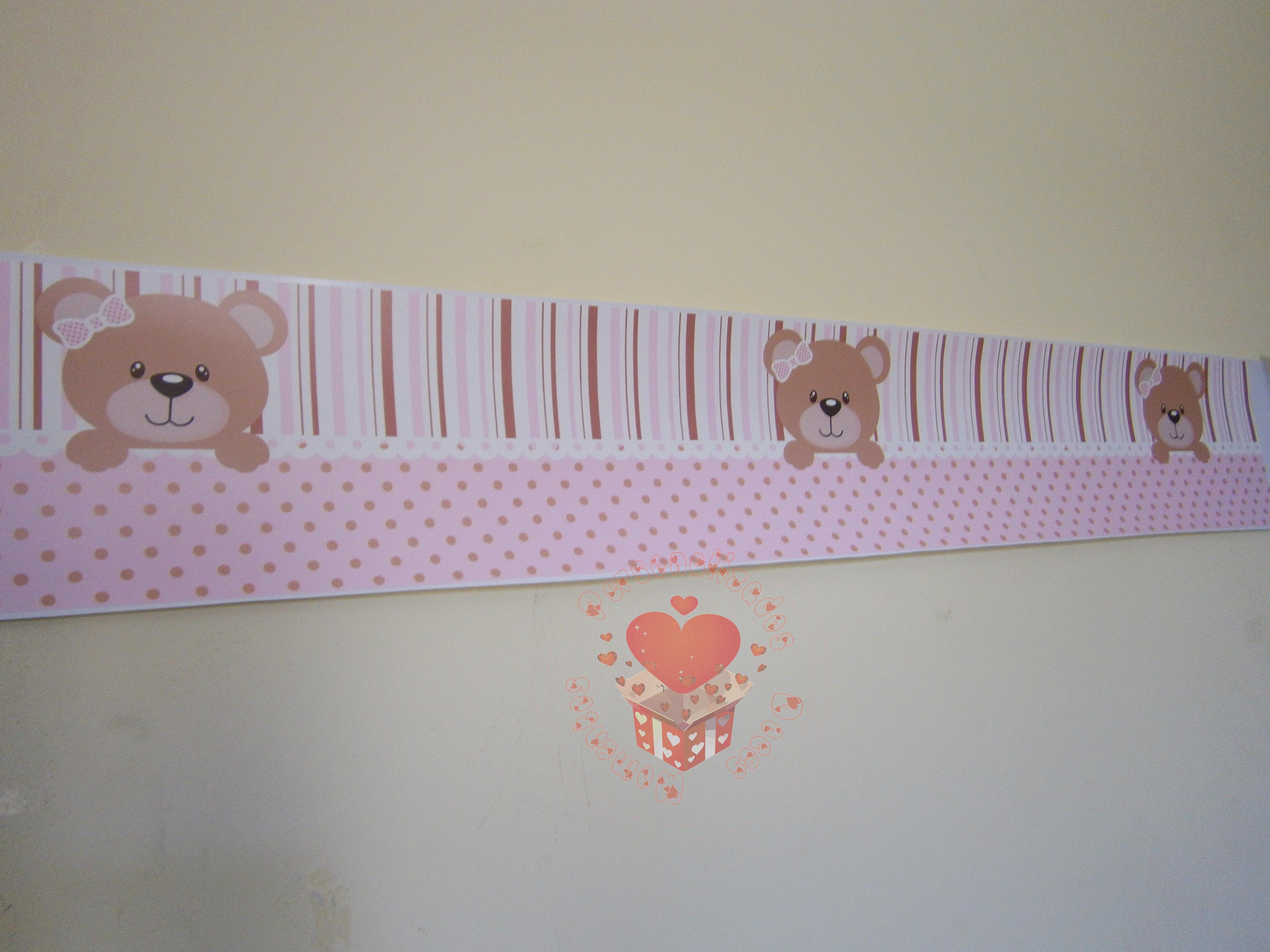 Faixa De Adesivo Para Quarto De Bebe ~  faixa personalizada parede ursa faixa quarto ursinha adesivo ursinha