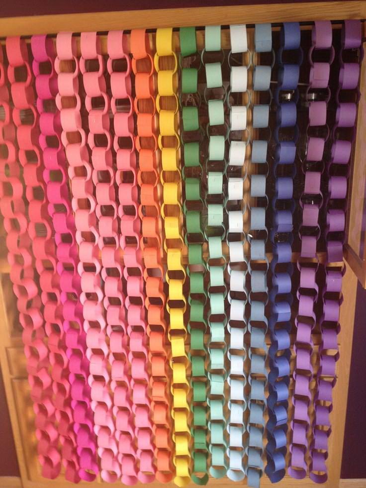 cortina de correntes de papel arco  ris bicho da seda