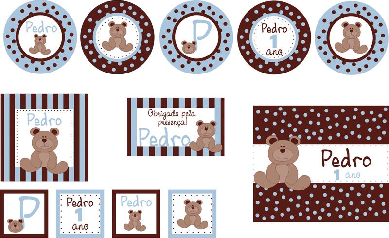 imprimir tag kit festa ursinho azul marrom p imprimir azul kit festa
