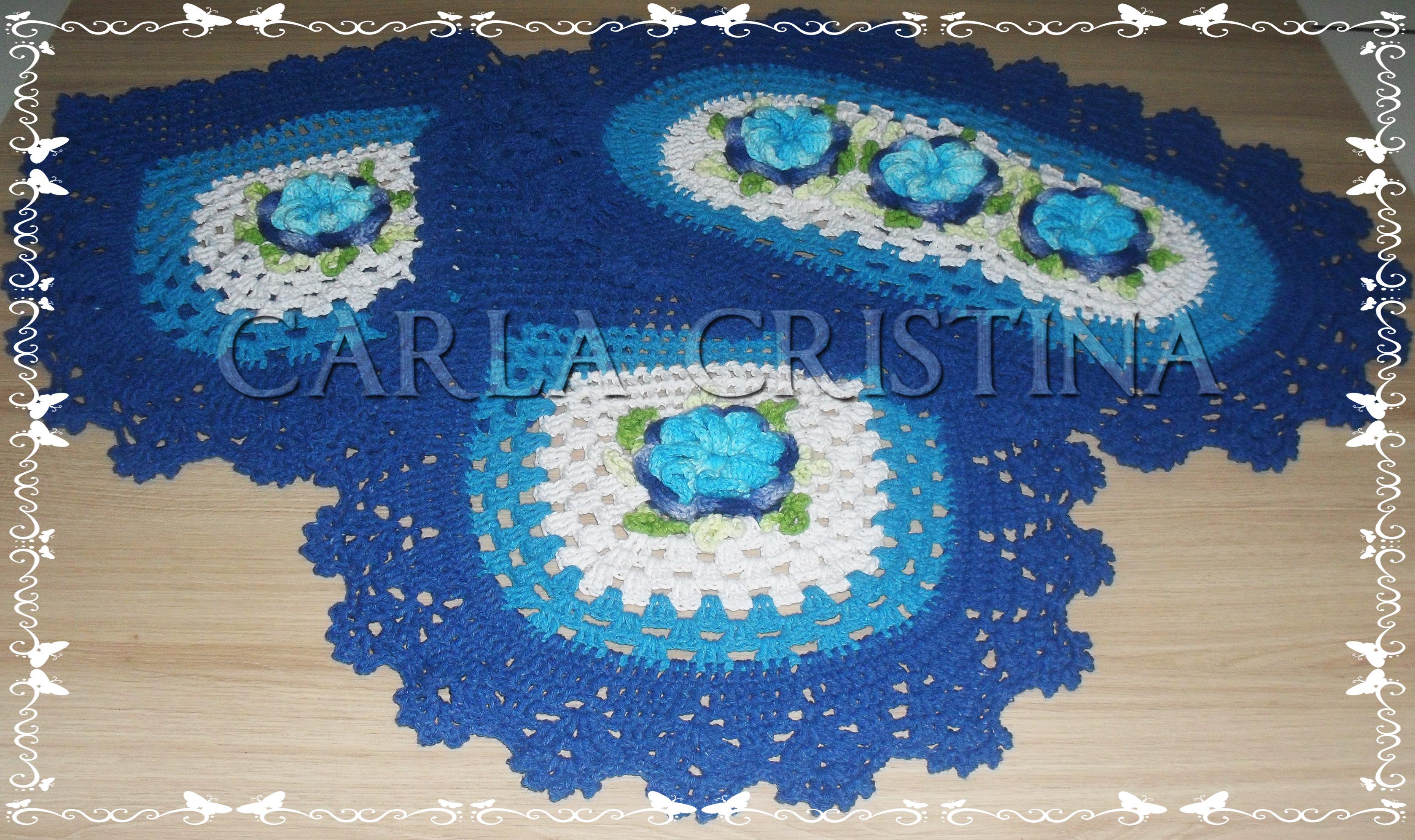 Jogo Banheiro Azul Croche : Jogo de banheiro azul pe?as carla cristina e crochet