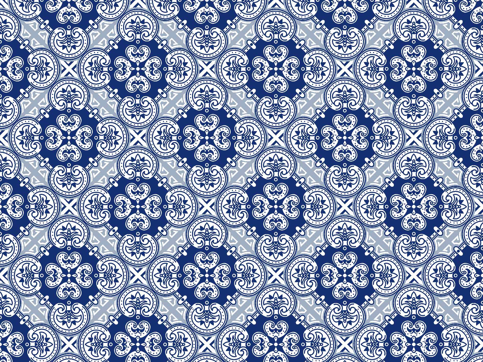 Tc358 tecido azulejo azul fabricart pannobom elo7 for Azulejo azul