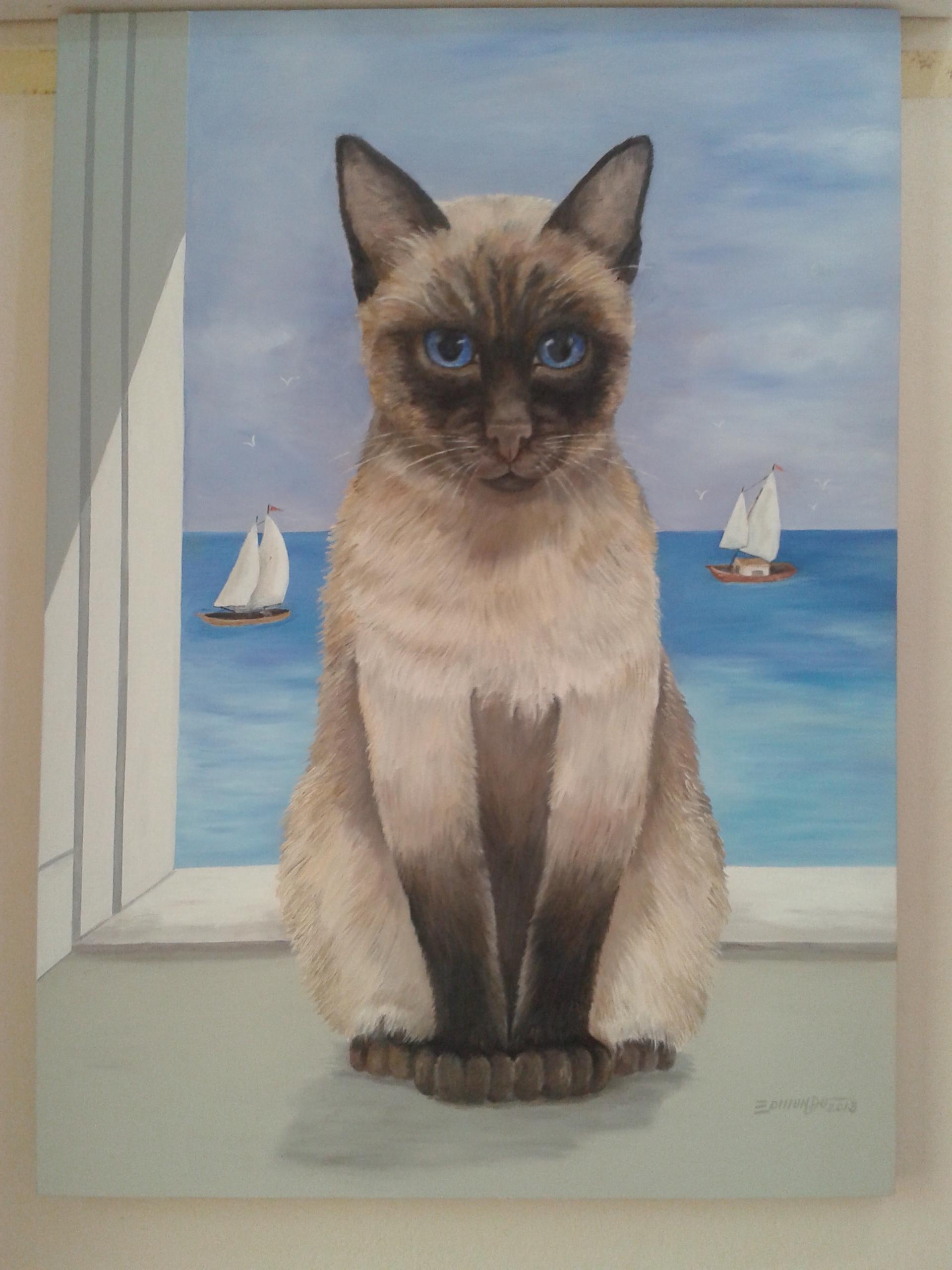 #416A8A tela oleo gato siames Edmundo Oliveira Elo7 1468 Tela Janela Gatos