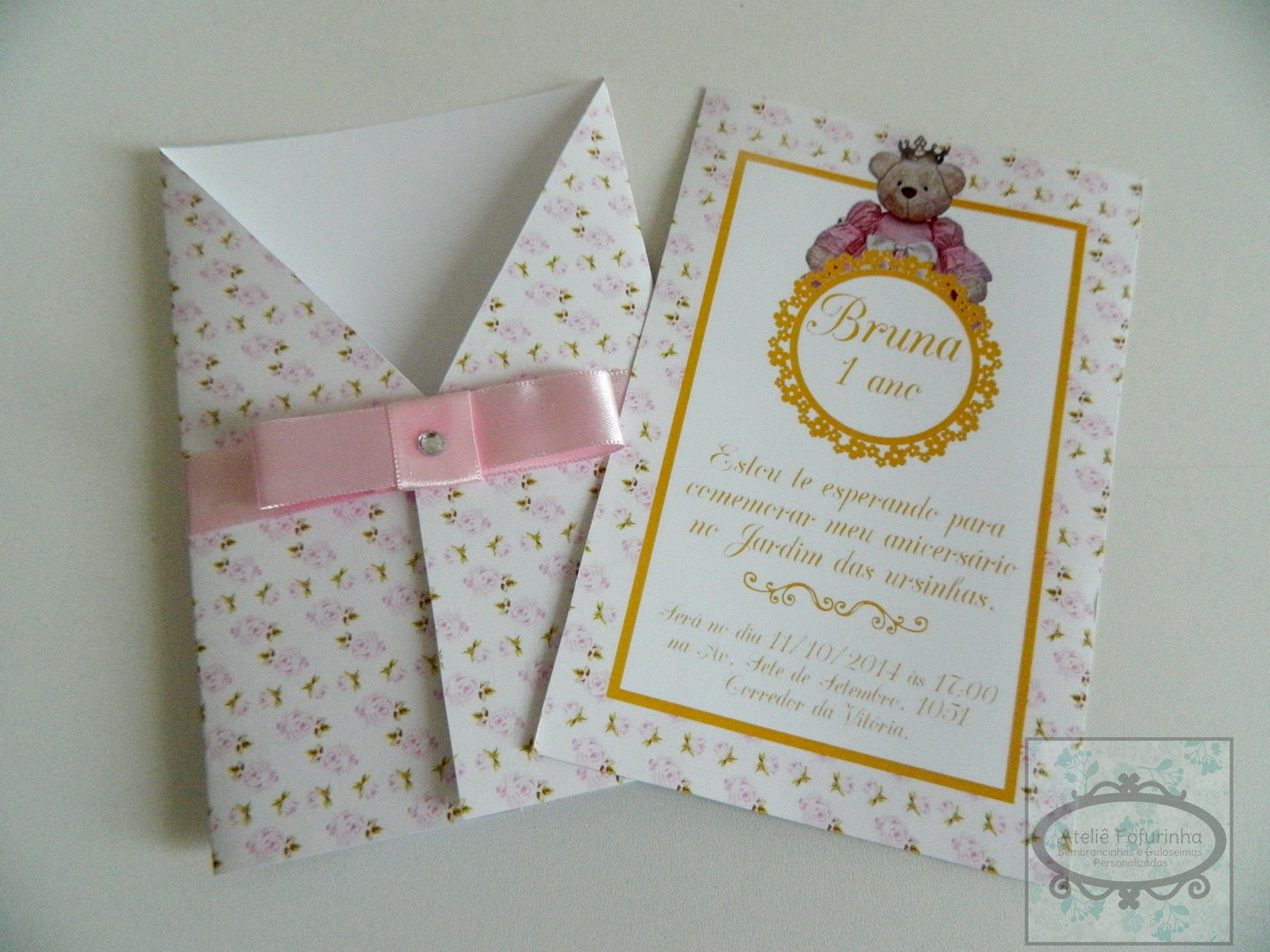 festa jardim convite : festa jardim convite:convite personalizado ursa princesa festa jardim convite personalizado
