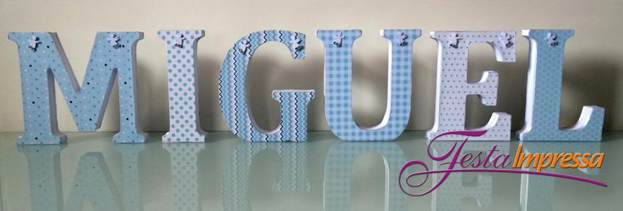 Letra em mdf azul anjos festa impressa elo7 - Letras habitacion bebe ...