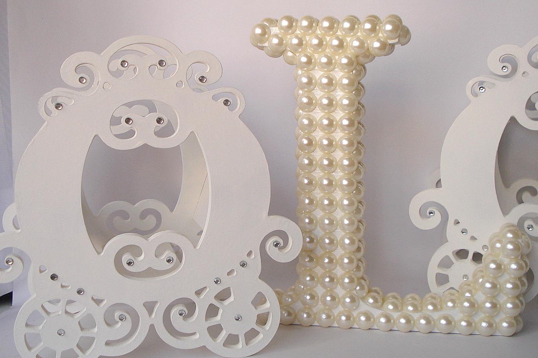Letras decorativas com p rolas 20cm tati baby elo7 - Letras decorativas pared ...