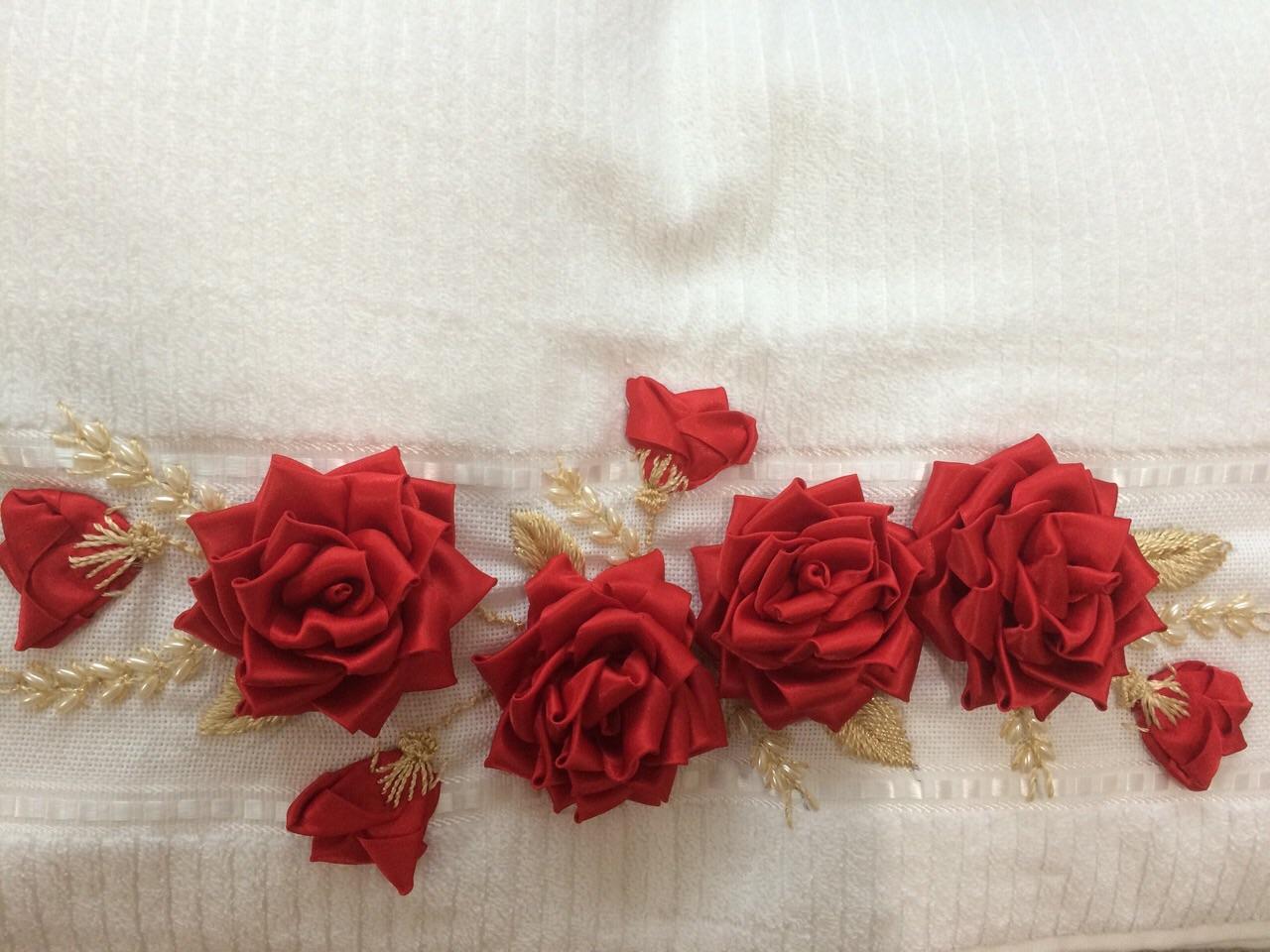 toalha de rosto com bordado em fita toalha de rosto