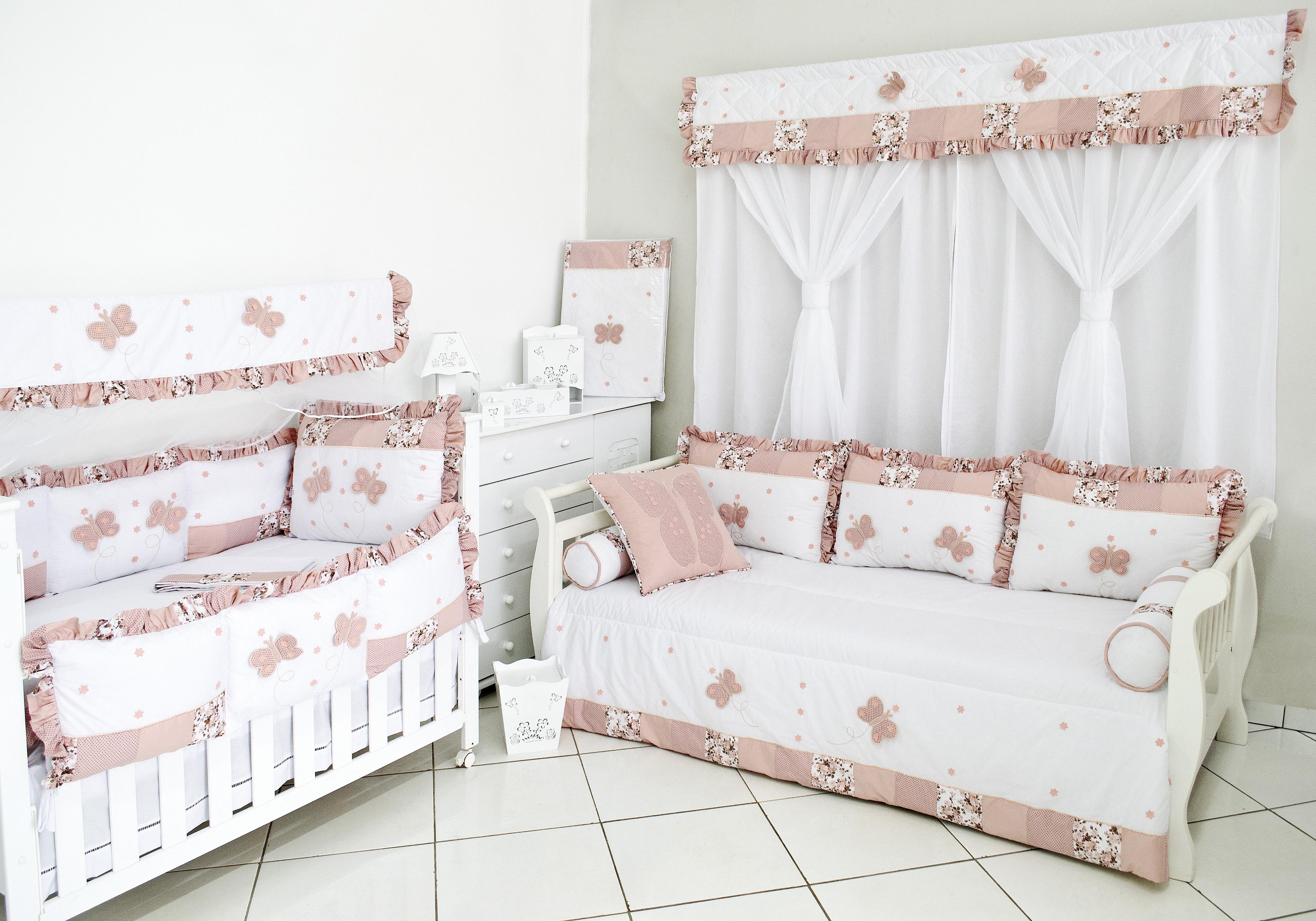 Kit Quarto Casal Completo Redival Com ~ Quarto Feminino Com Cama Box E Quarto Bebe Rosa E Cinza