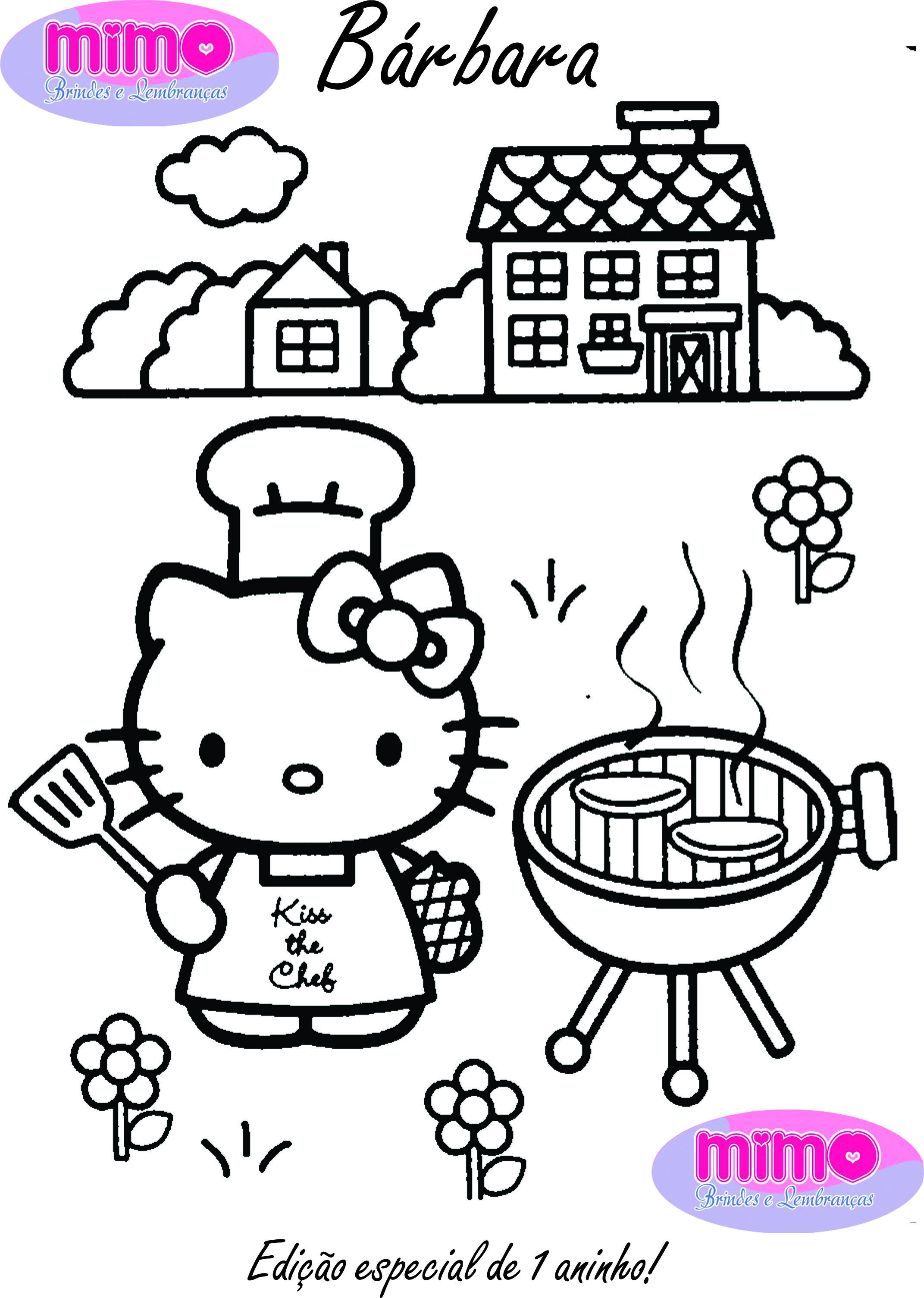 Hello kitty easter pictures to color Kitty Geranium Dress with sleeves - Made By Rae