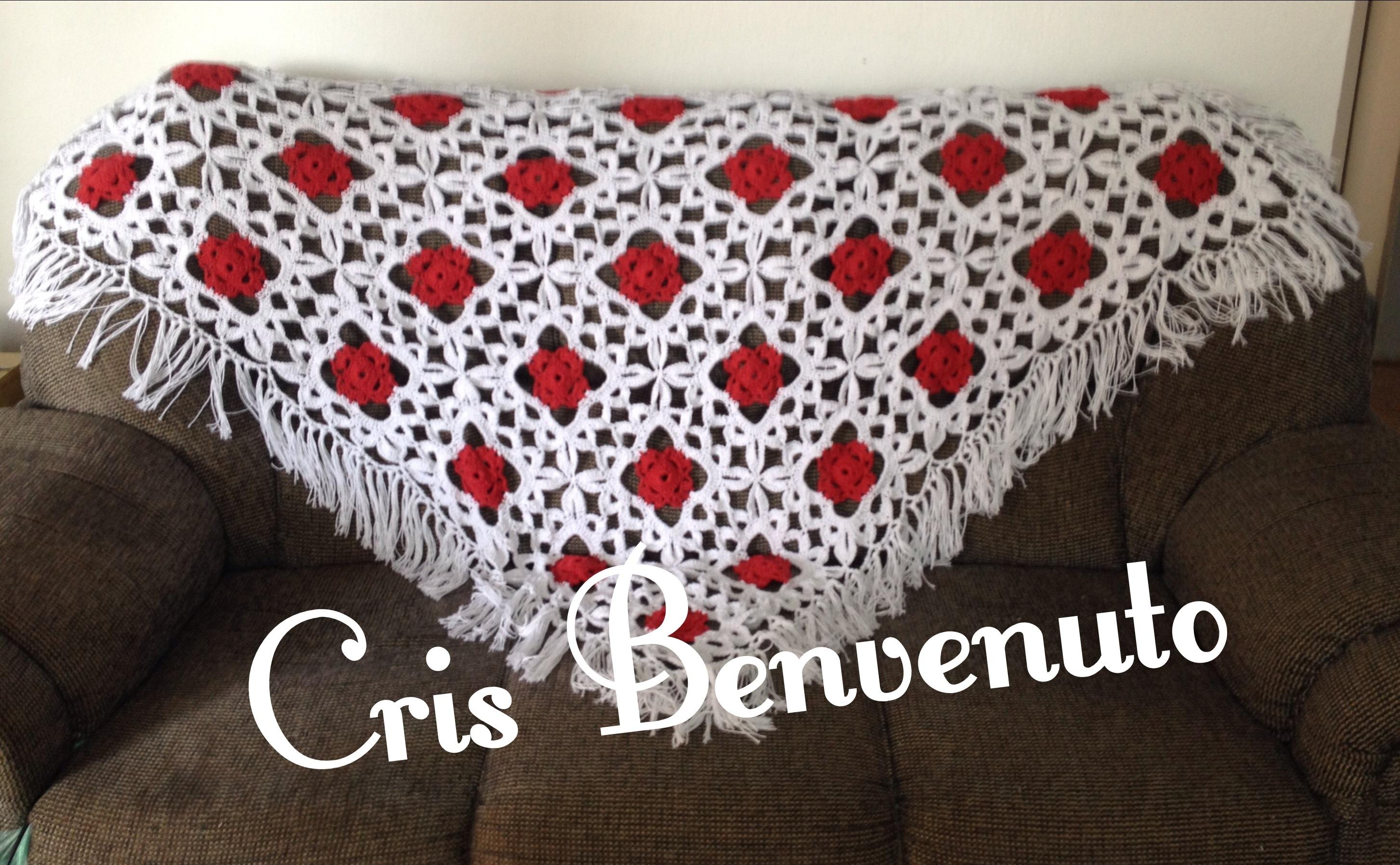 manta para sofa em croche vermelha