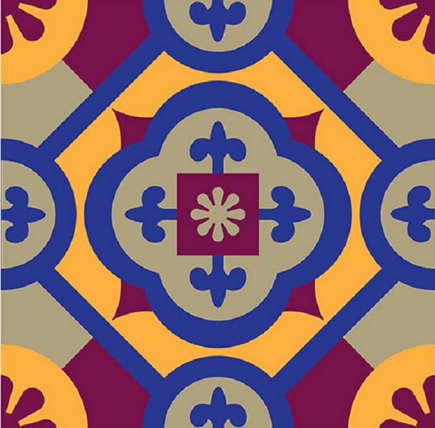 Artesanato Tecido Patchwork ~ Azulejo Tecido Adesivo Azul 20 x 20 Crie Casa Decoracao Elo7