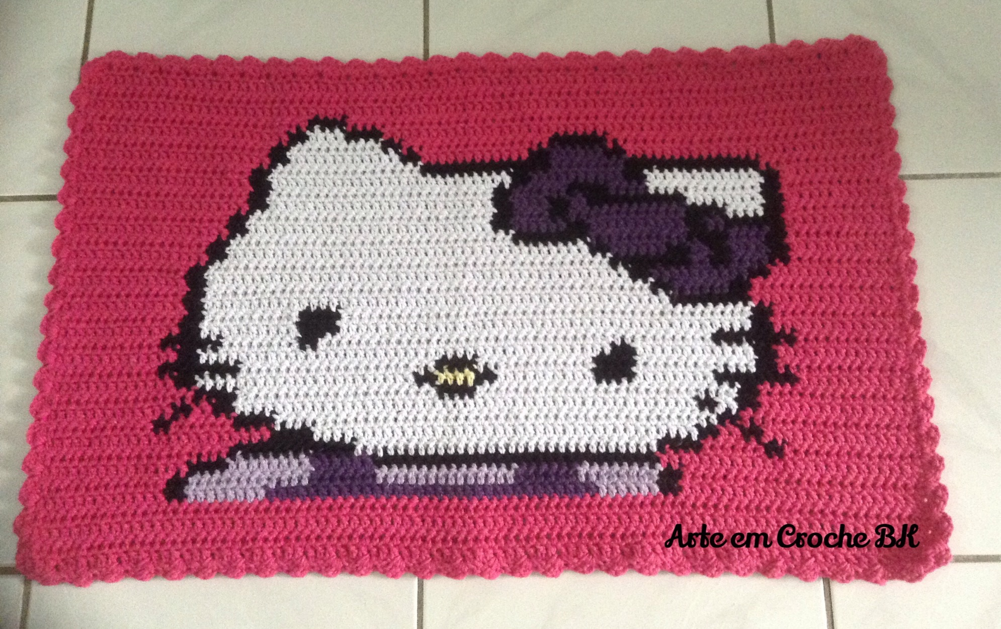 Tapete Croche Hello Kitty ARTE EM CROCHE BK Elo7 ~ Tapetes Quarto Hello Kitty