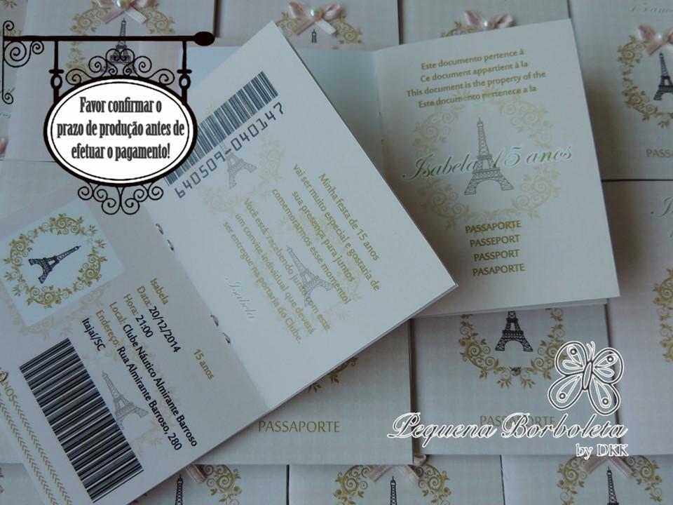 Convite Passaporte Paris | Pequena Borboleta | Elo7