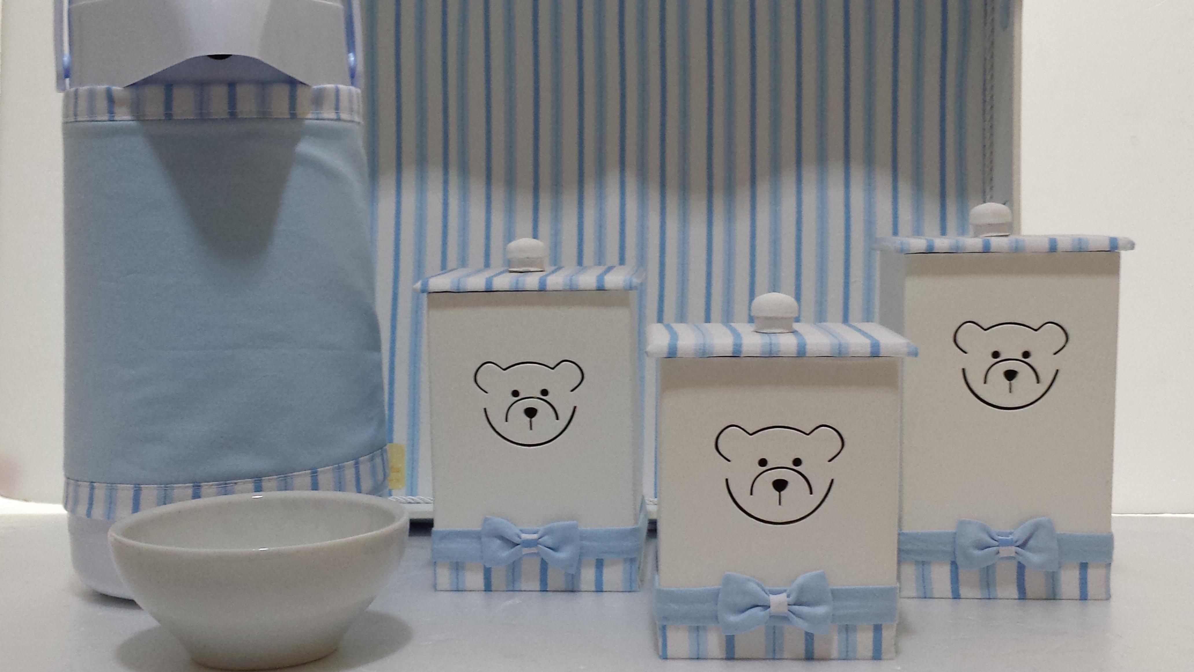 Kit Higiene Urso Azul Claro  Laços e Laçarotes  Elo7