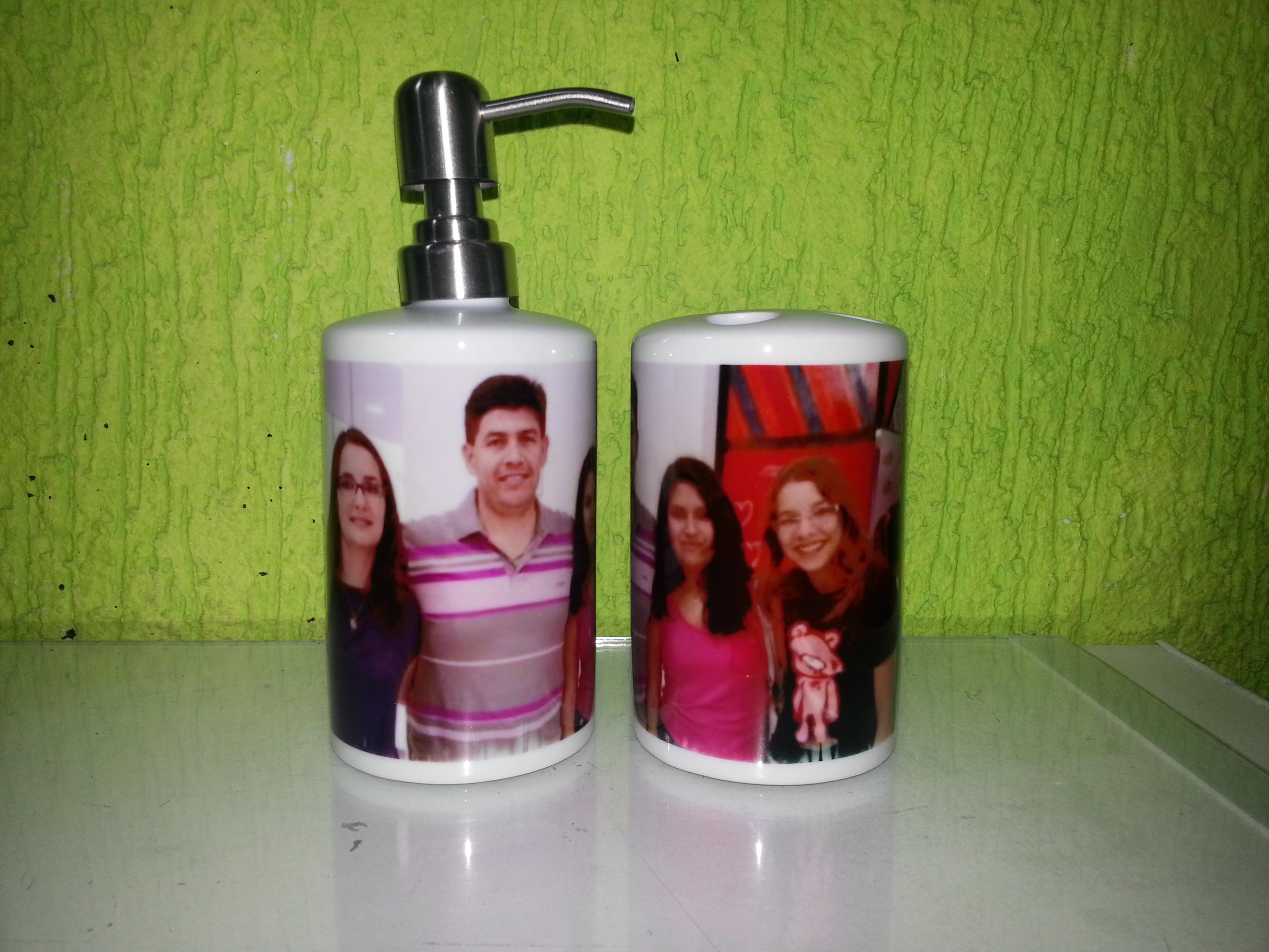 kit saboneteira porcelana personalizada kit banheiro #4C611A 3264 2448
