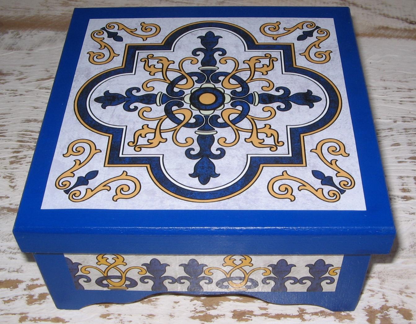 Caixa de ch azulejos portugueses lacinho verde elo7 - Azulejos portugueses comprar ...