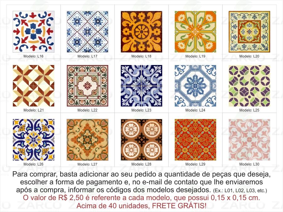 Aparador Moderno Blanco ~ Adesivo Azulejo Portugu u00eas Ladrilho 15 cm Zarco