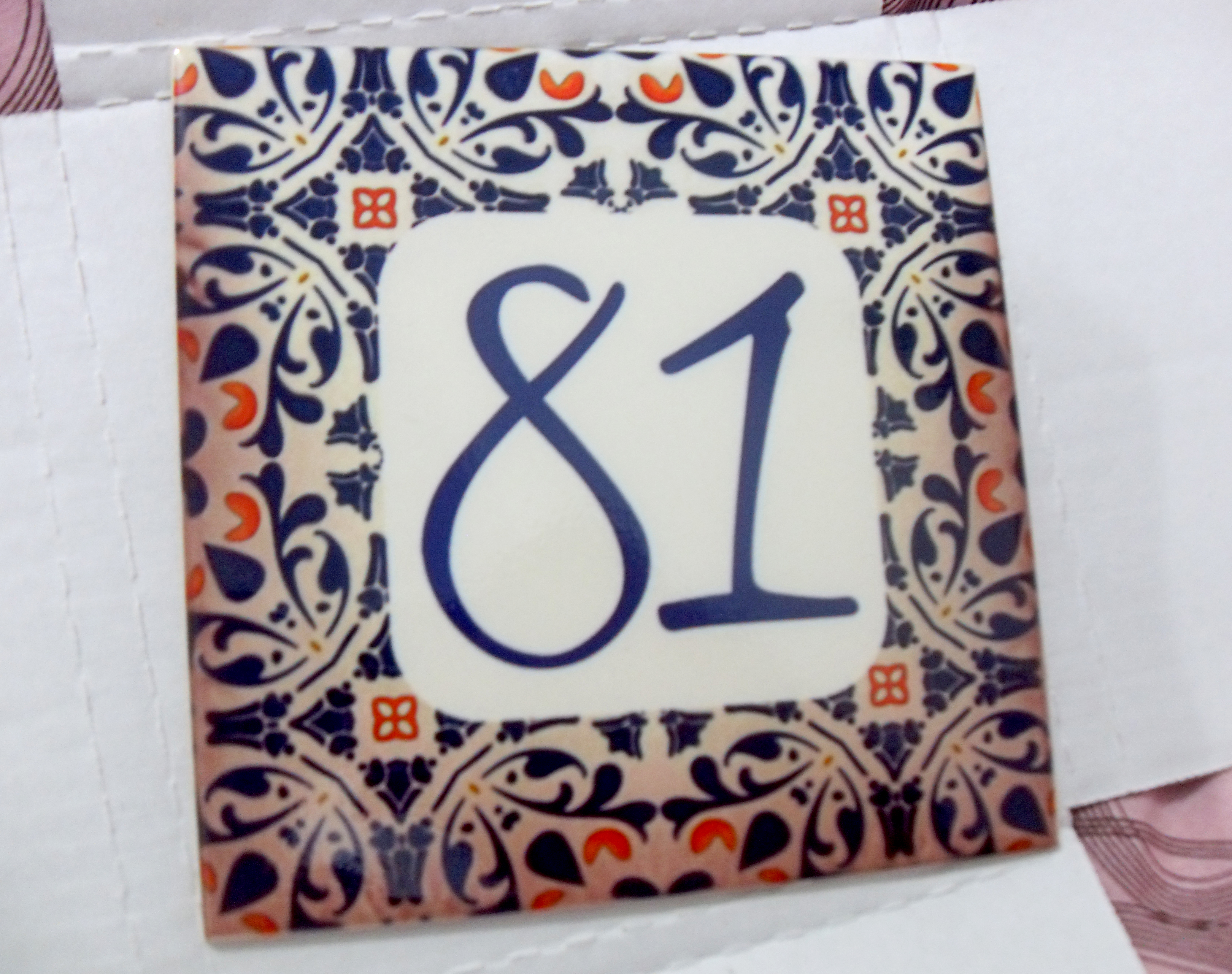 N mero para casa azulejo carla regina elo7 for Azulejo numero casa