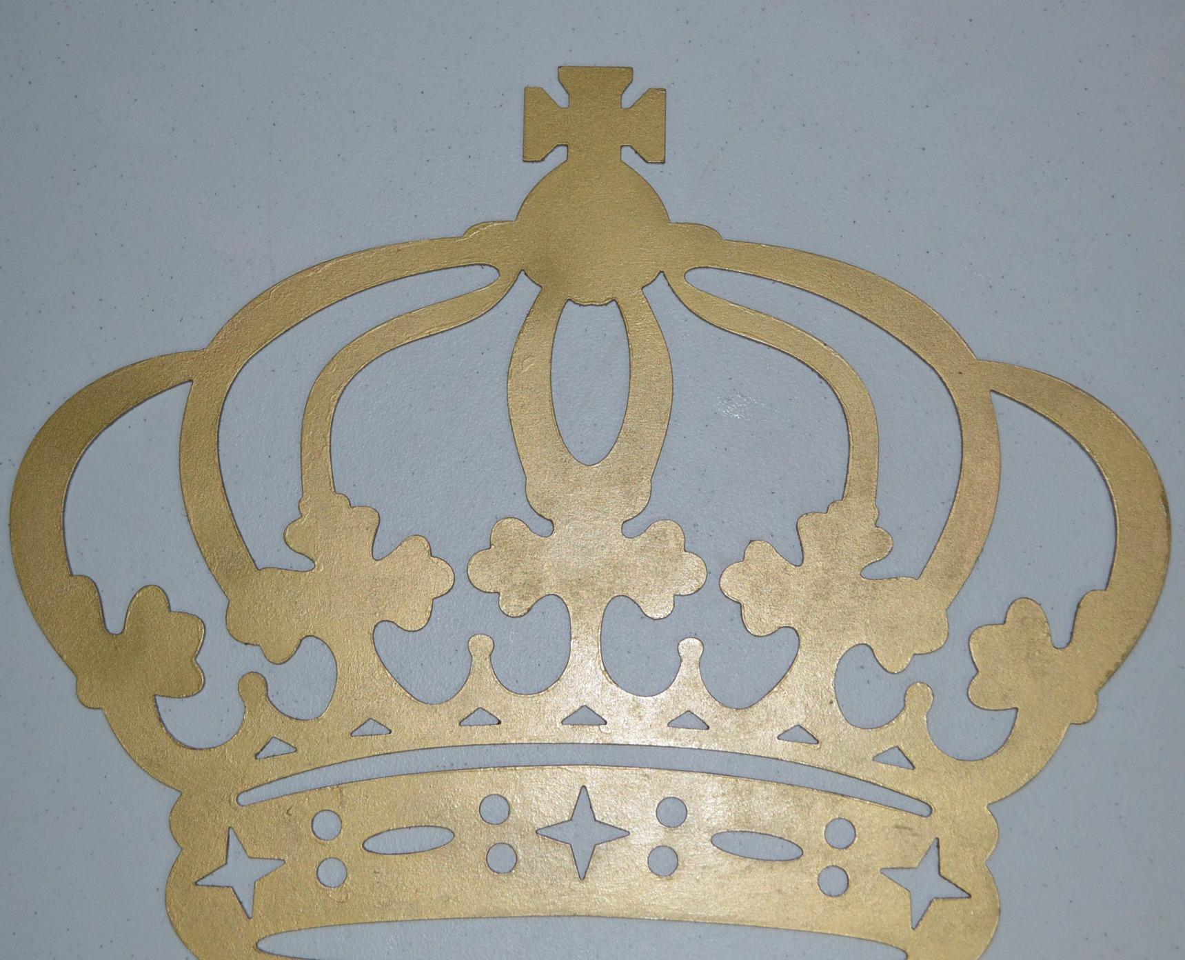 Coroa de Parede em MDF Dourada 44 cm AureArte MDF Elo7 #847047 1719x1392