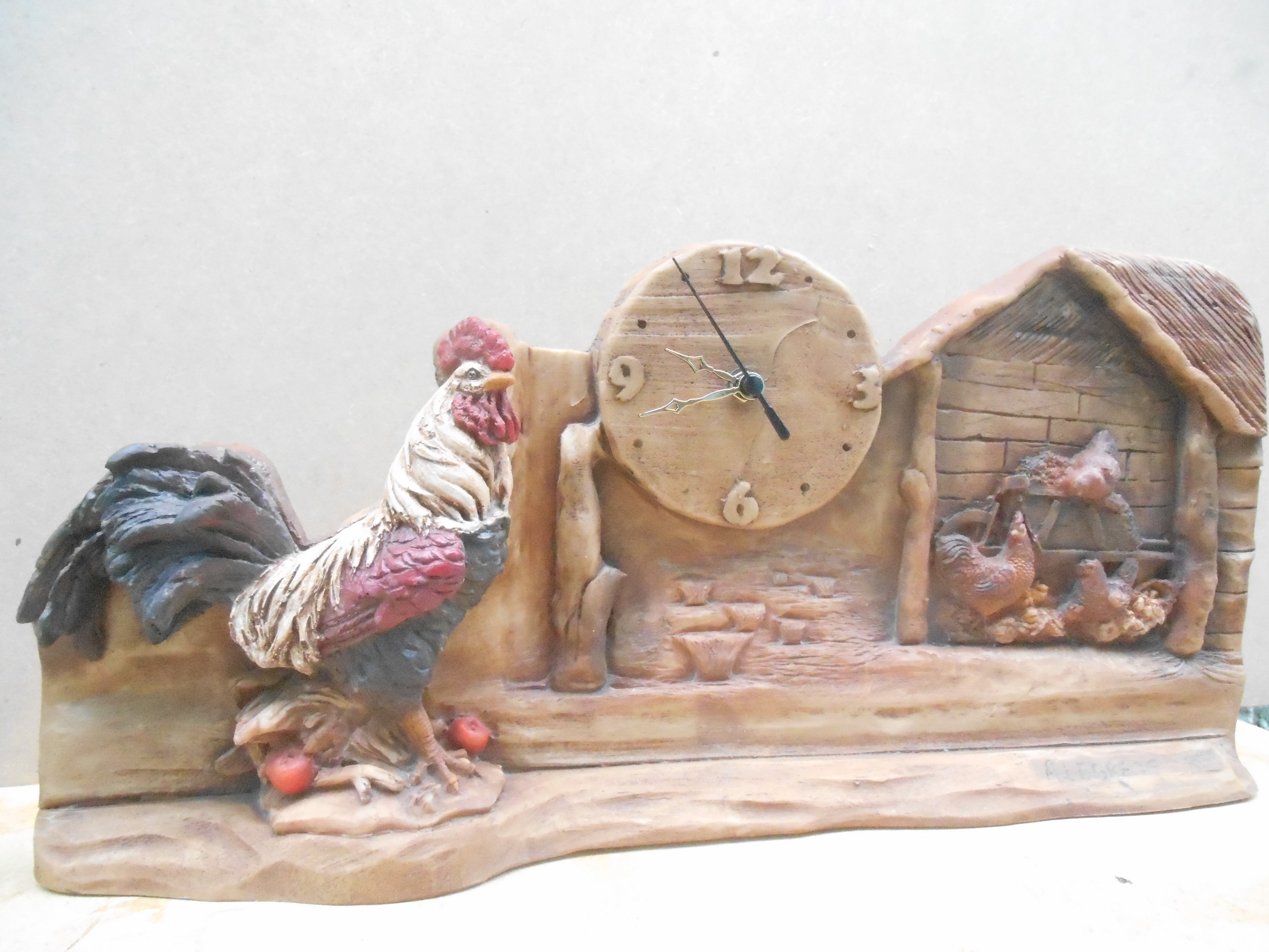 Artesanato Lider Sao Paulo ~ Relógio Estante Galo Alegrete Artes Elo7