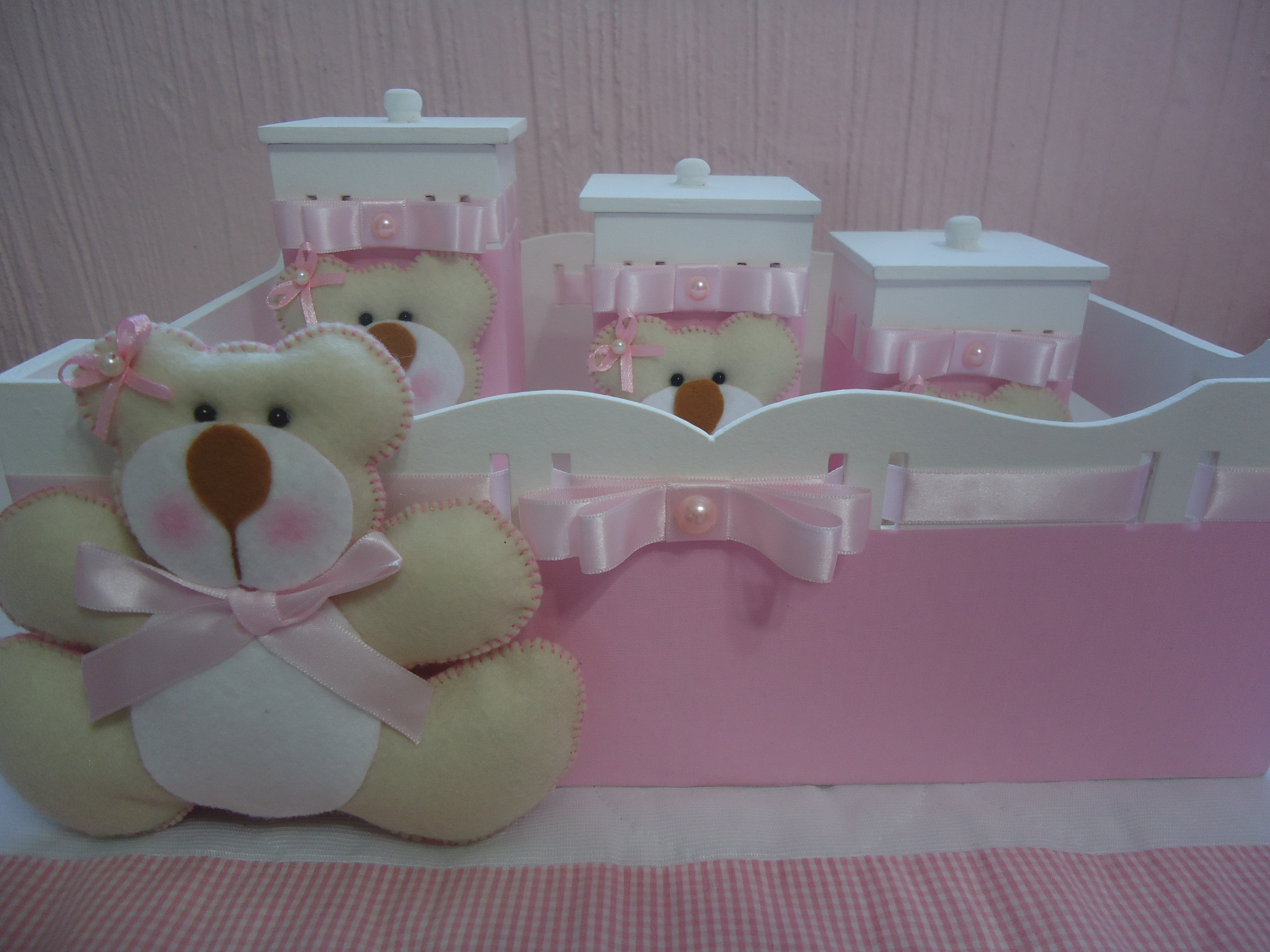 Kit Higiene Bebê Ursa Rosa  Ternura em Feltro  Elo7