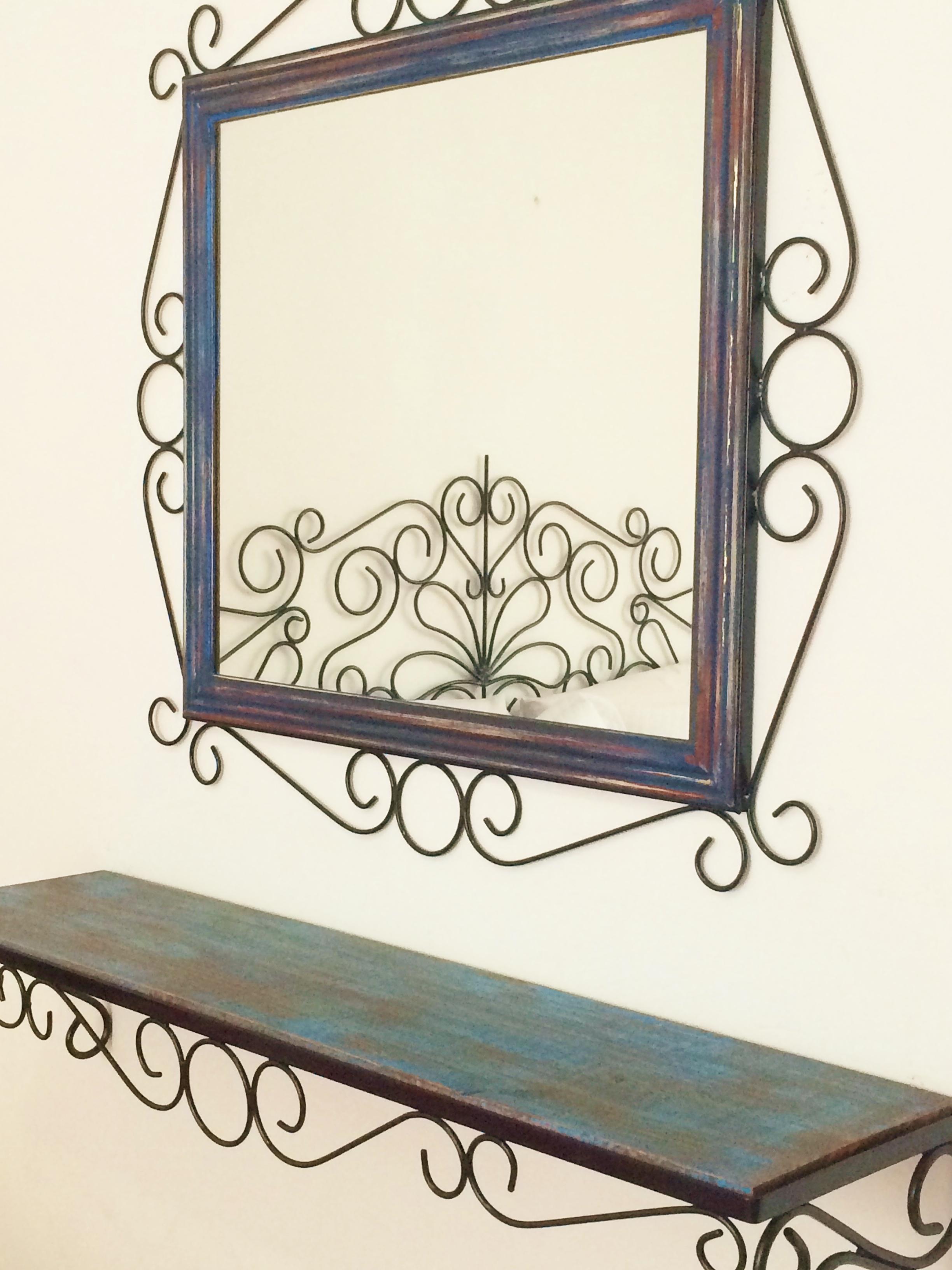 moldura aparador ferro e madeira espelho com moldura de ferro #927E39 2448x3264