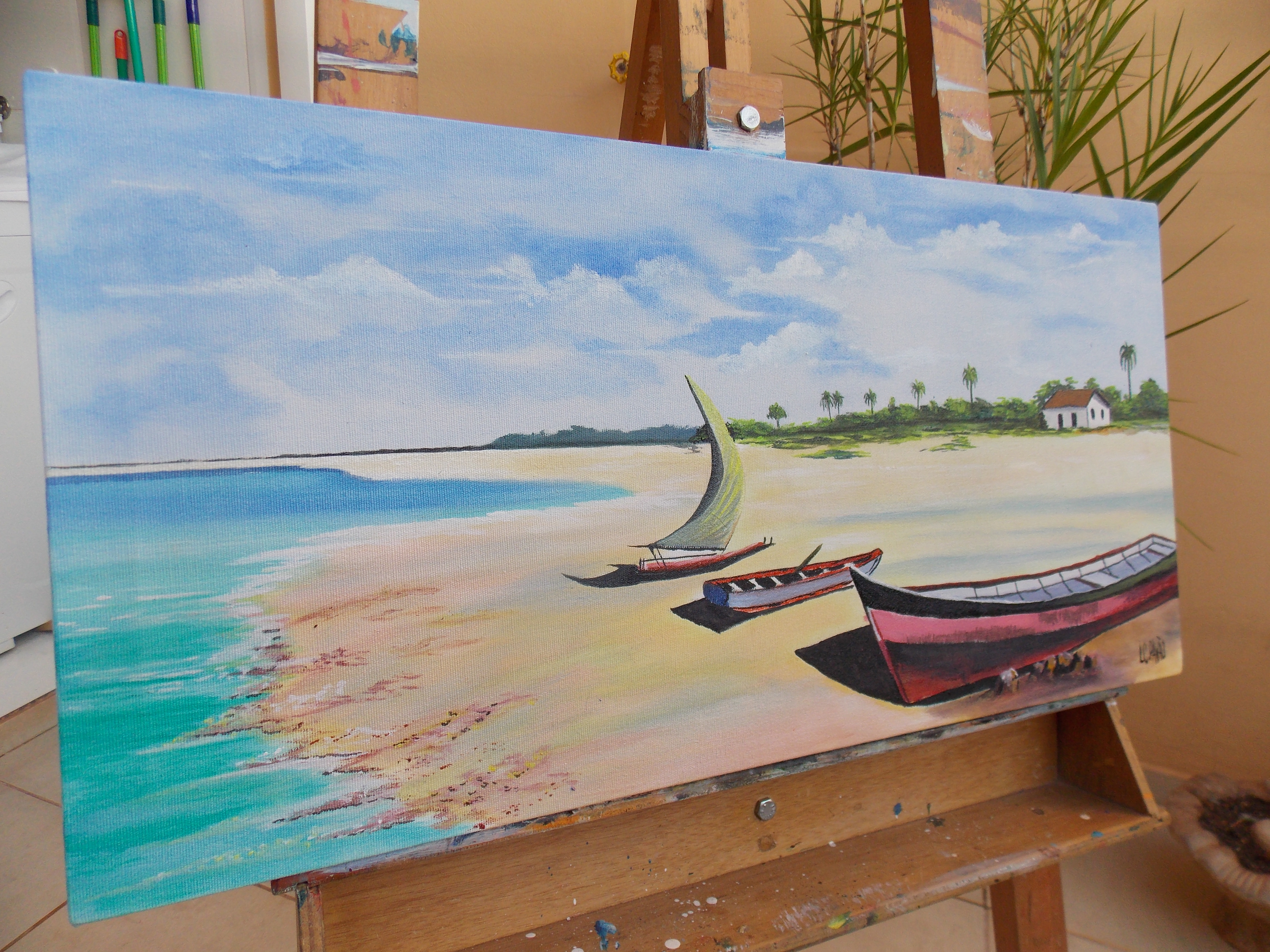 Tela pintura acr lica praia ateli pav o elo7 - Pintura acrilica pared ...