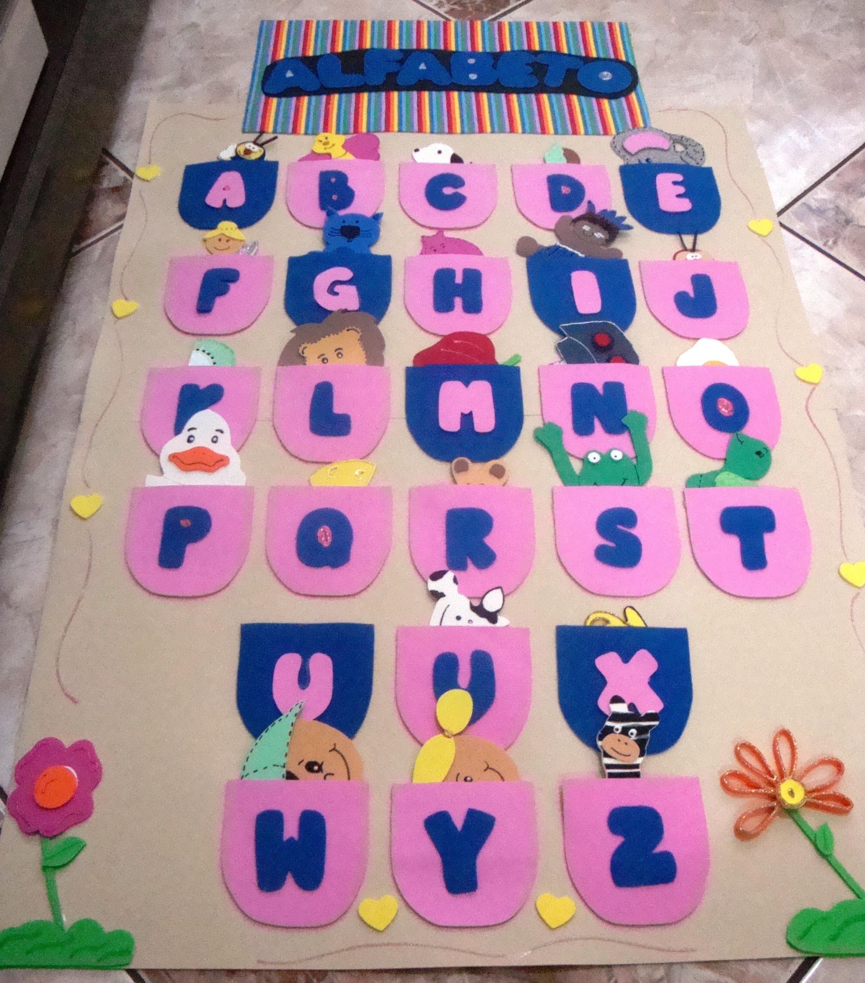 Painel alfabeto drika padula elo7 for Mural de fotos 1 ano