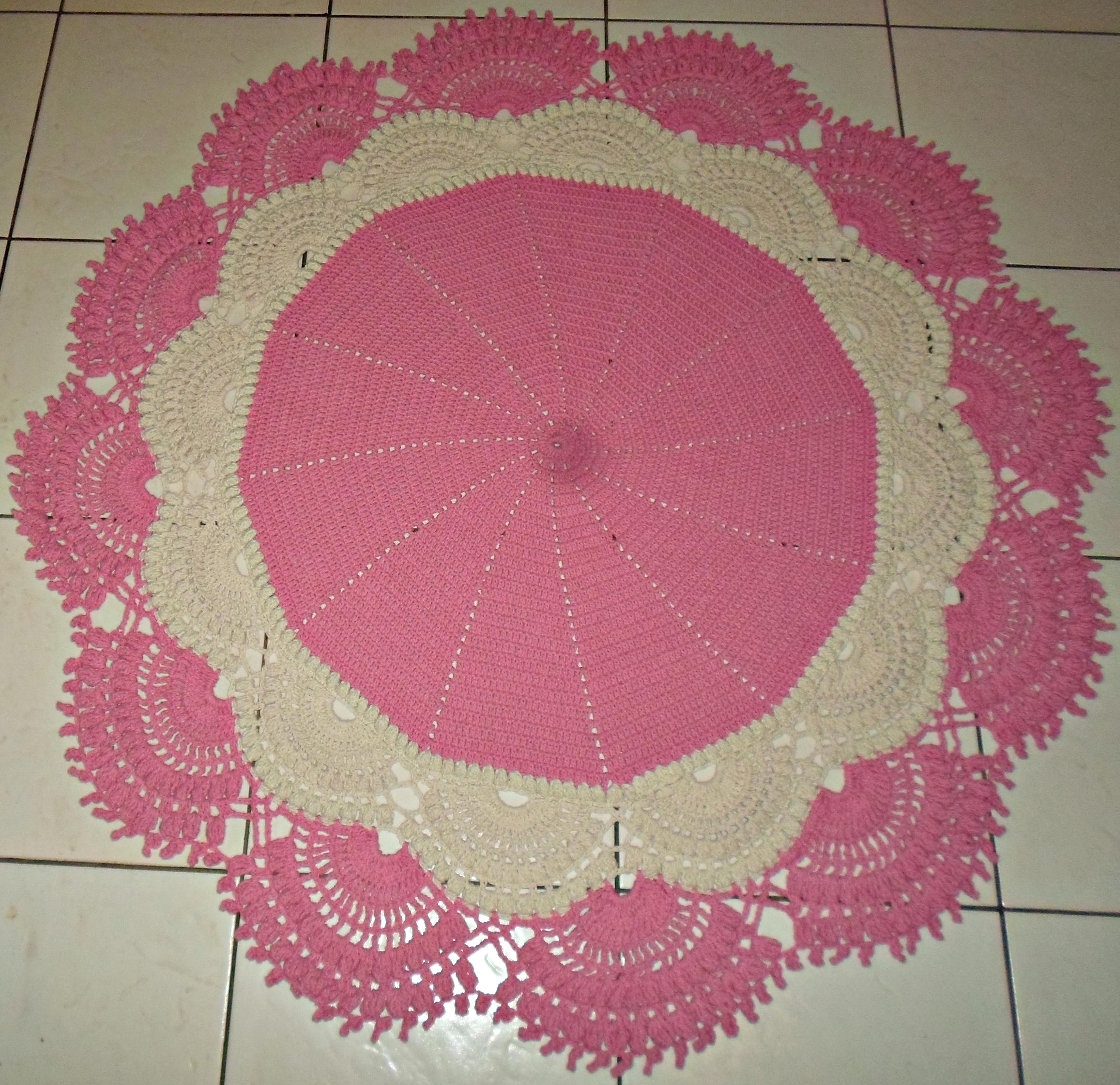 tapete de crochê para quarto infantil rosa