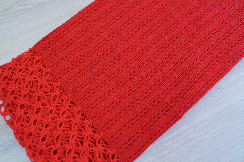manta para bebê em trico vermelha