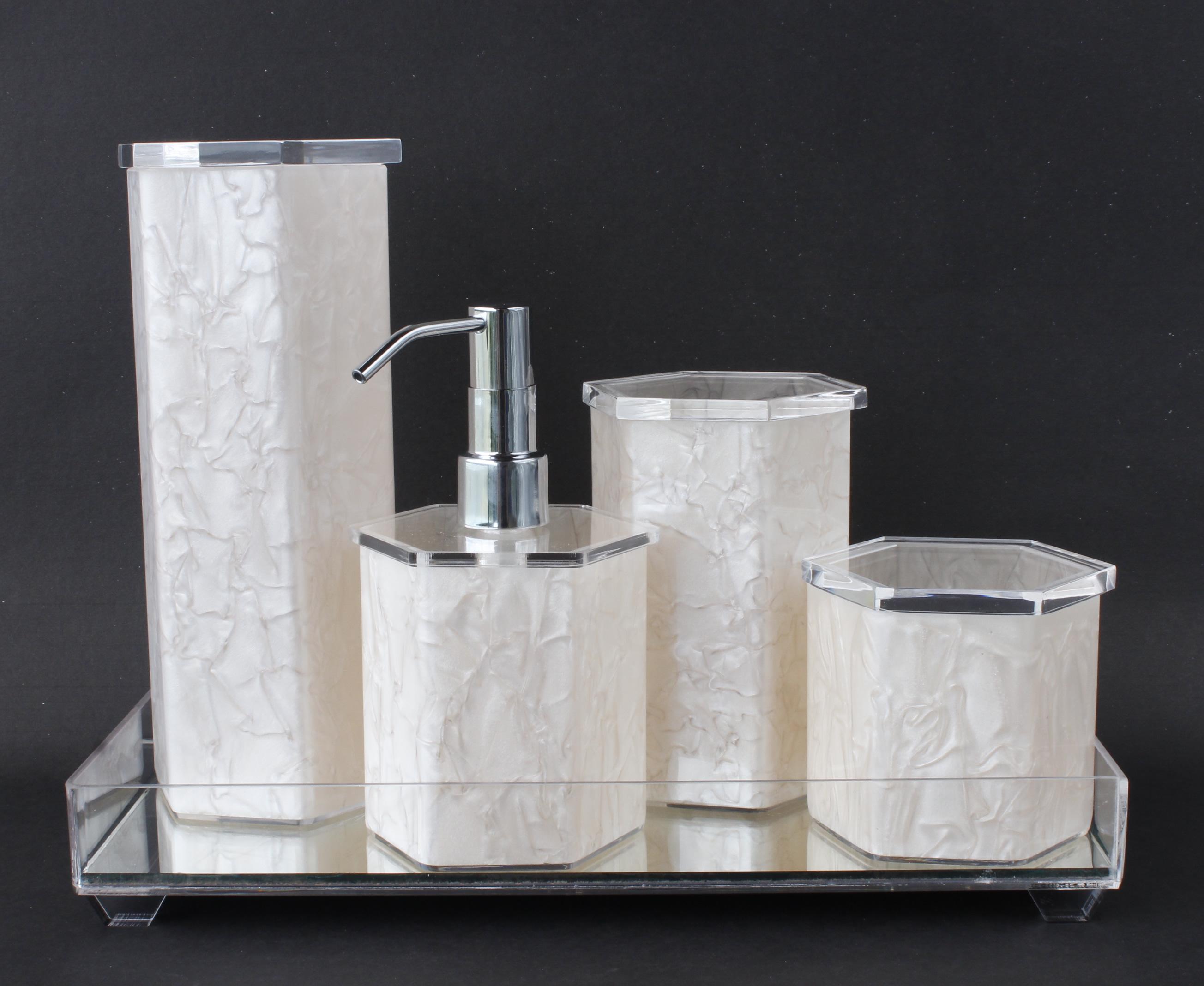 Kit Higiene Banheiro Acrílico Espelhada  Decorar Cantinho  Elo7 -> Pia De Banheiro Acrilico