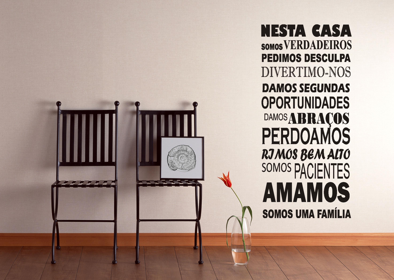 Adesivo Frases educação Nesta casa Box GAUDESIVOS Elo7 #B1281A 2950 2094